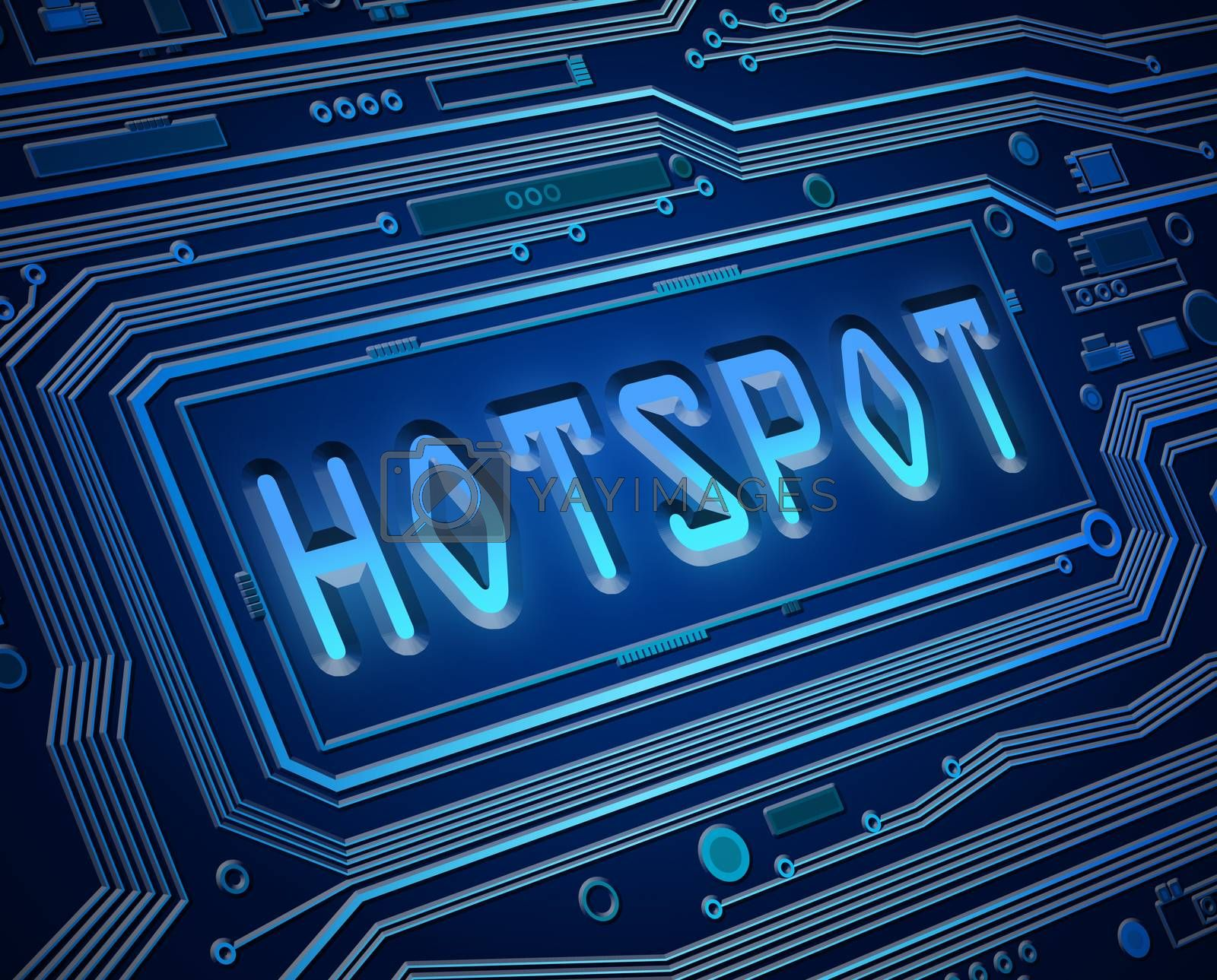 Abstract style illustration depicting printed circuit board components with a hotspot concept.