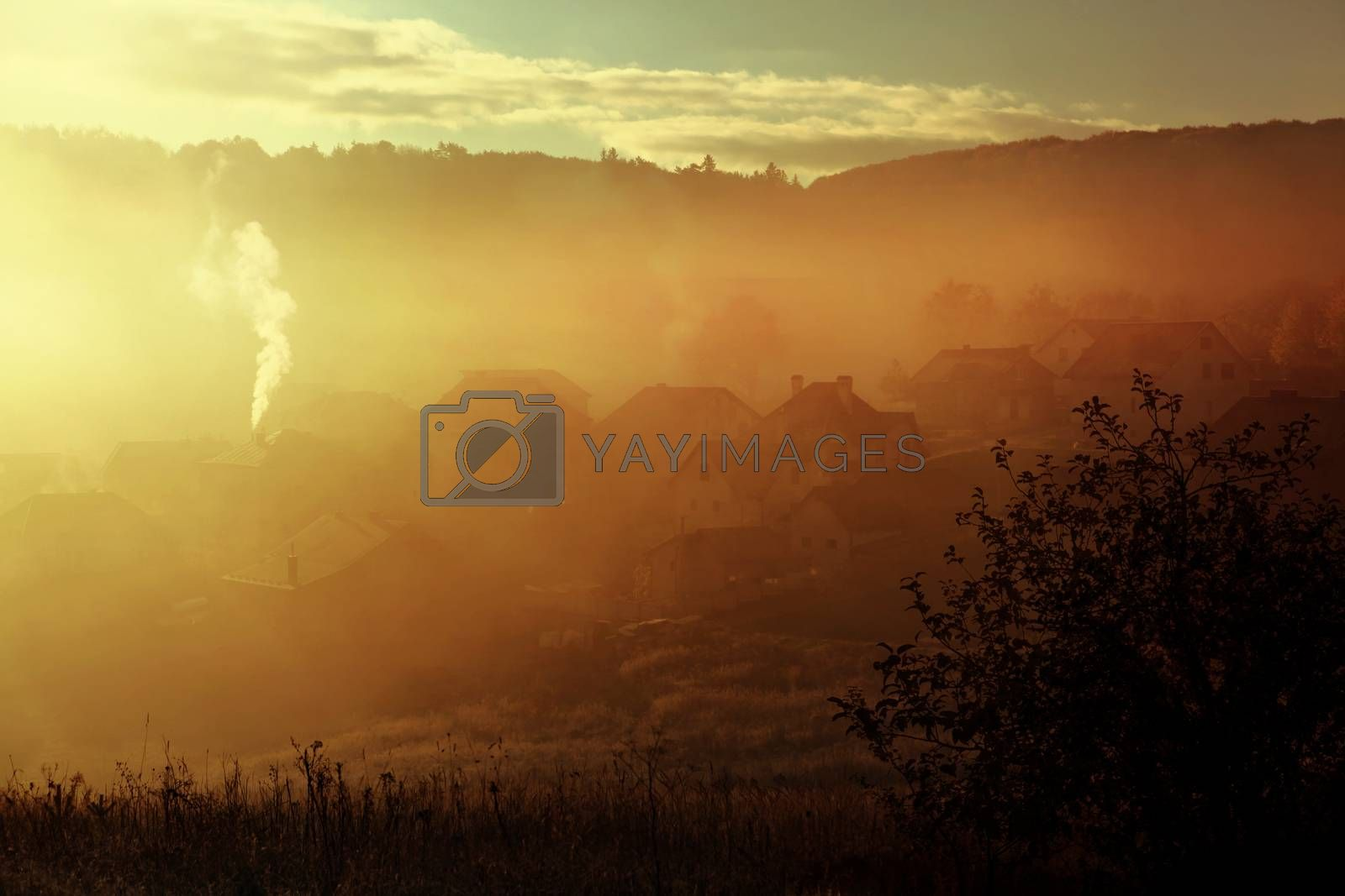 sunrise with fog over countryside at autumn