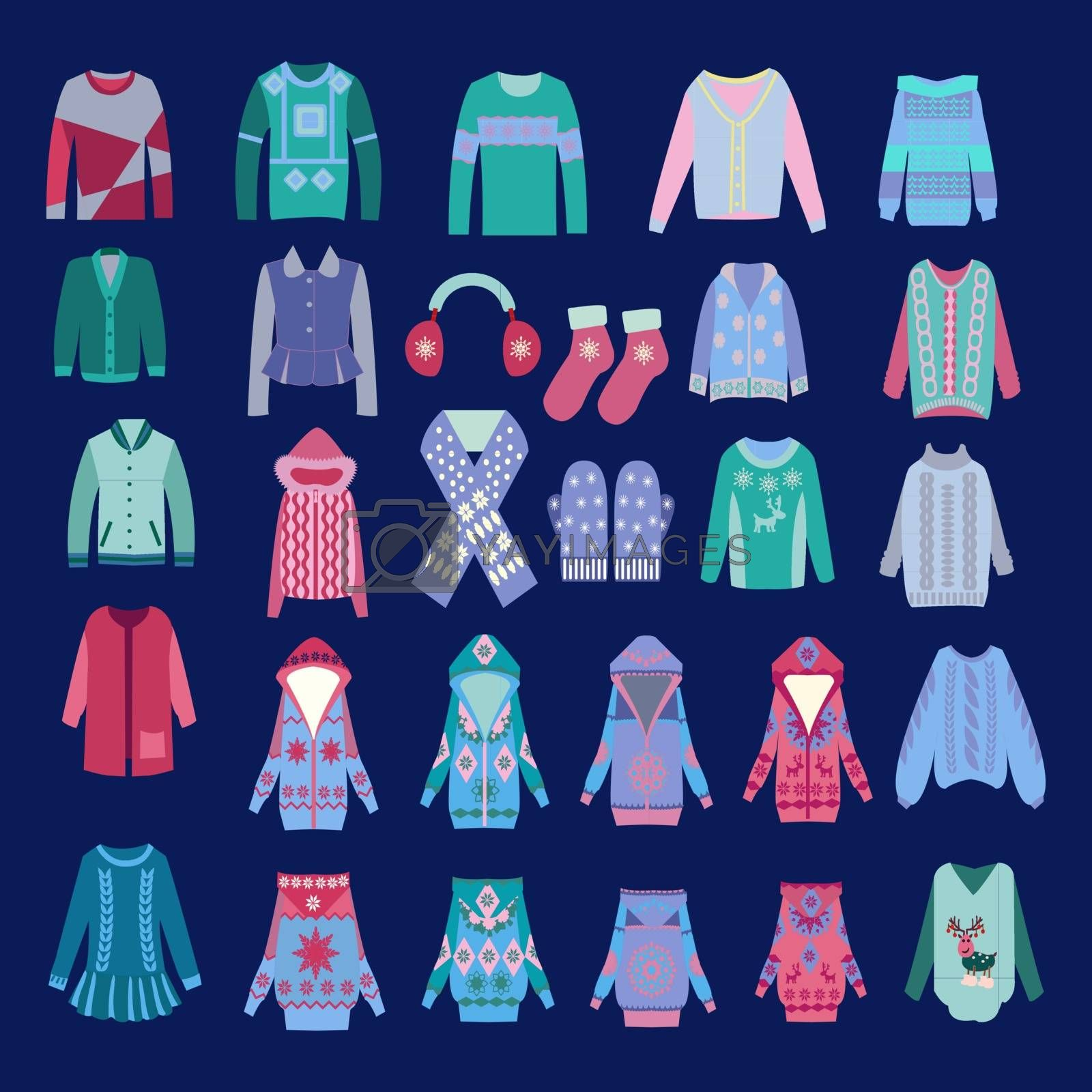 Vector set icon in flat style Fashion of cozy winter clothes and accessories for man  and woman winter clothes - illustration