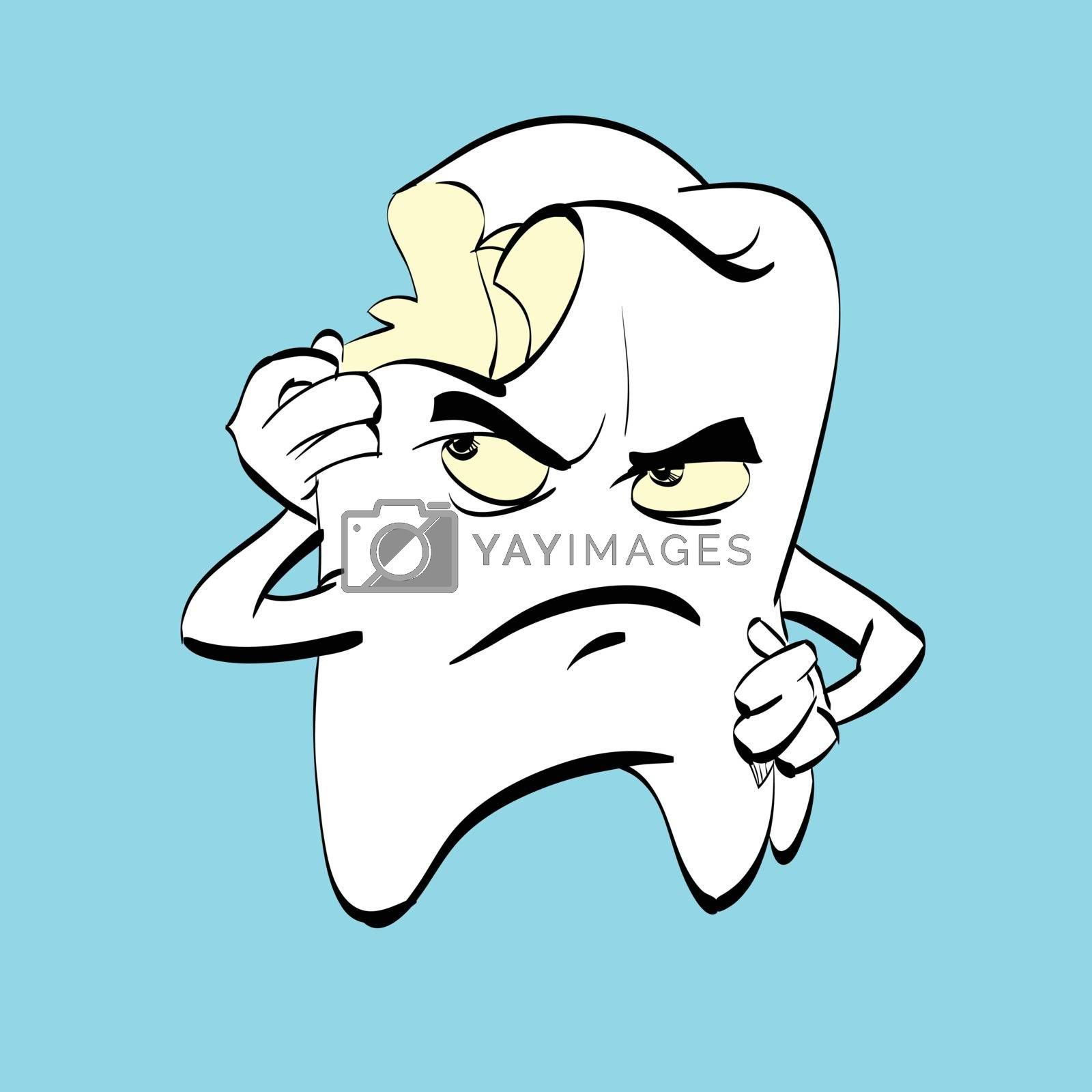 The aching tooth with caries, a comic book character. Dental hygiene. Medicine and dentistry