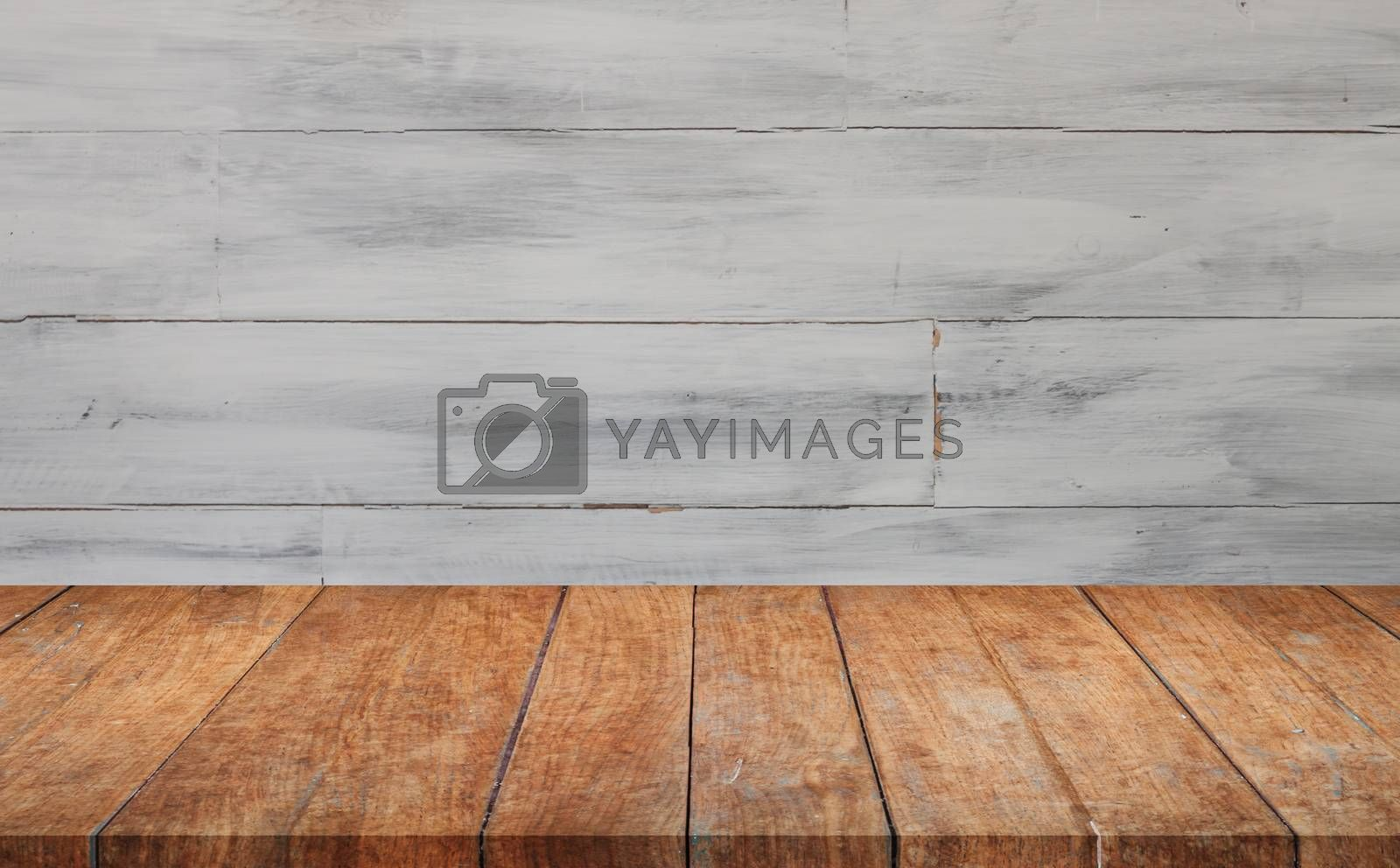 Perspective top wooden with white wooden wall background. product display template