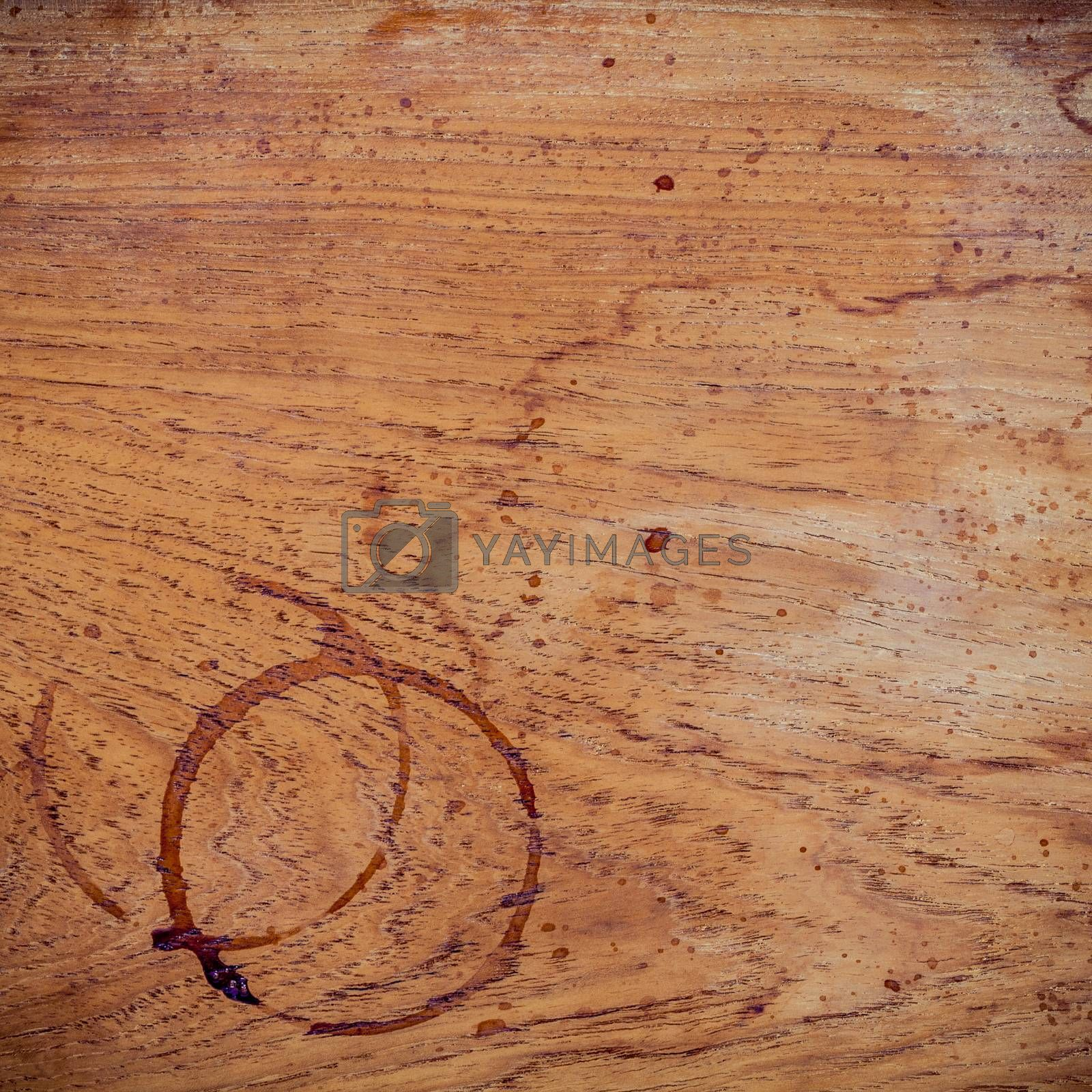 Beverage background and Coffee menu design . Coffee ring on shabby teak woods . Coffee stains on grunge wooden table background  with copy space flat lay.