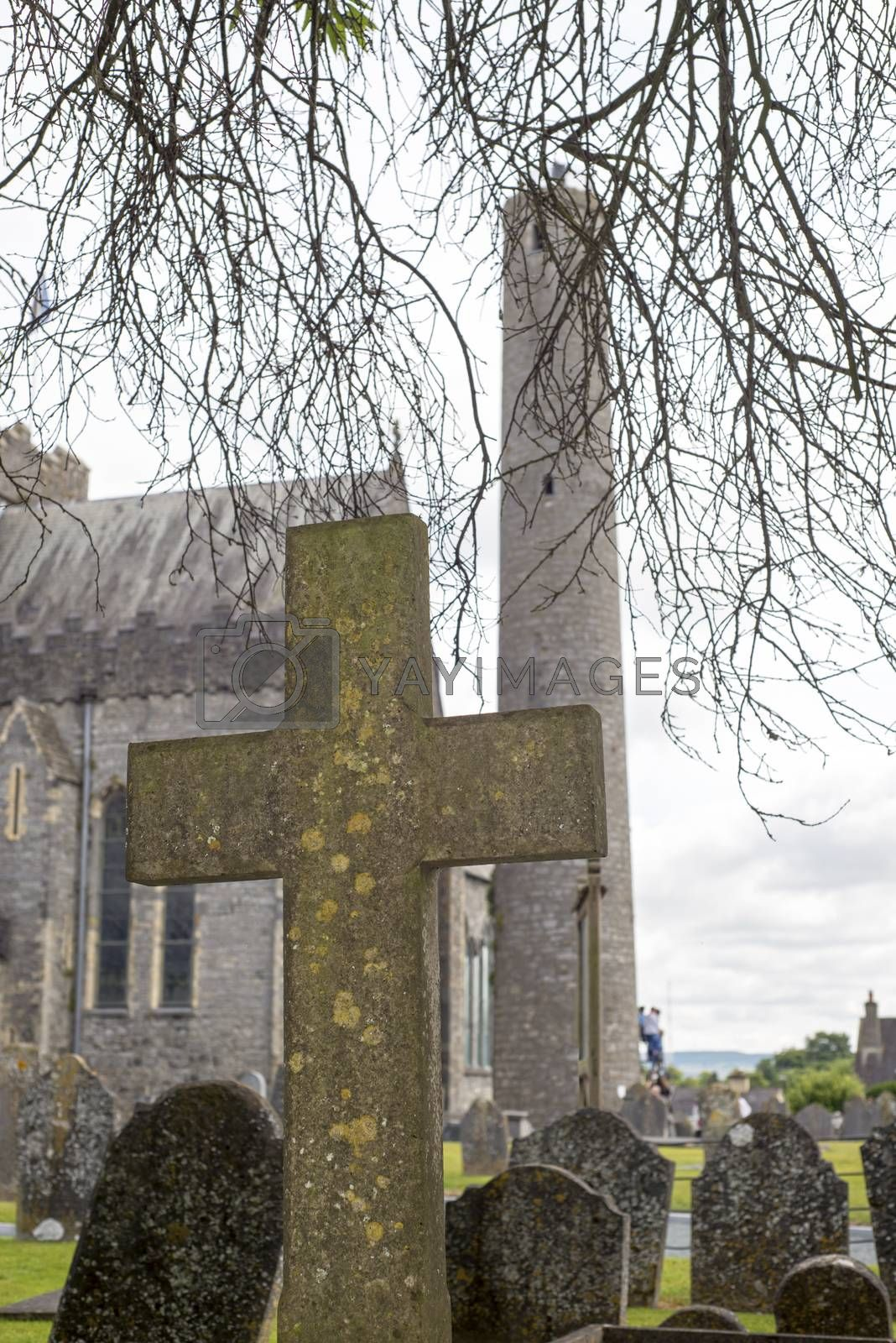 cross at ancient graveyard in St Canice's Cathedral in kilkenny city ireland