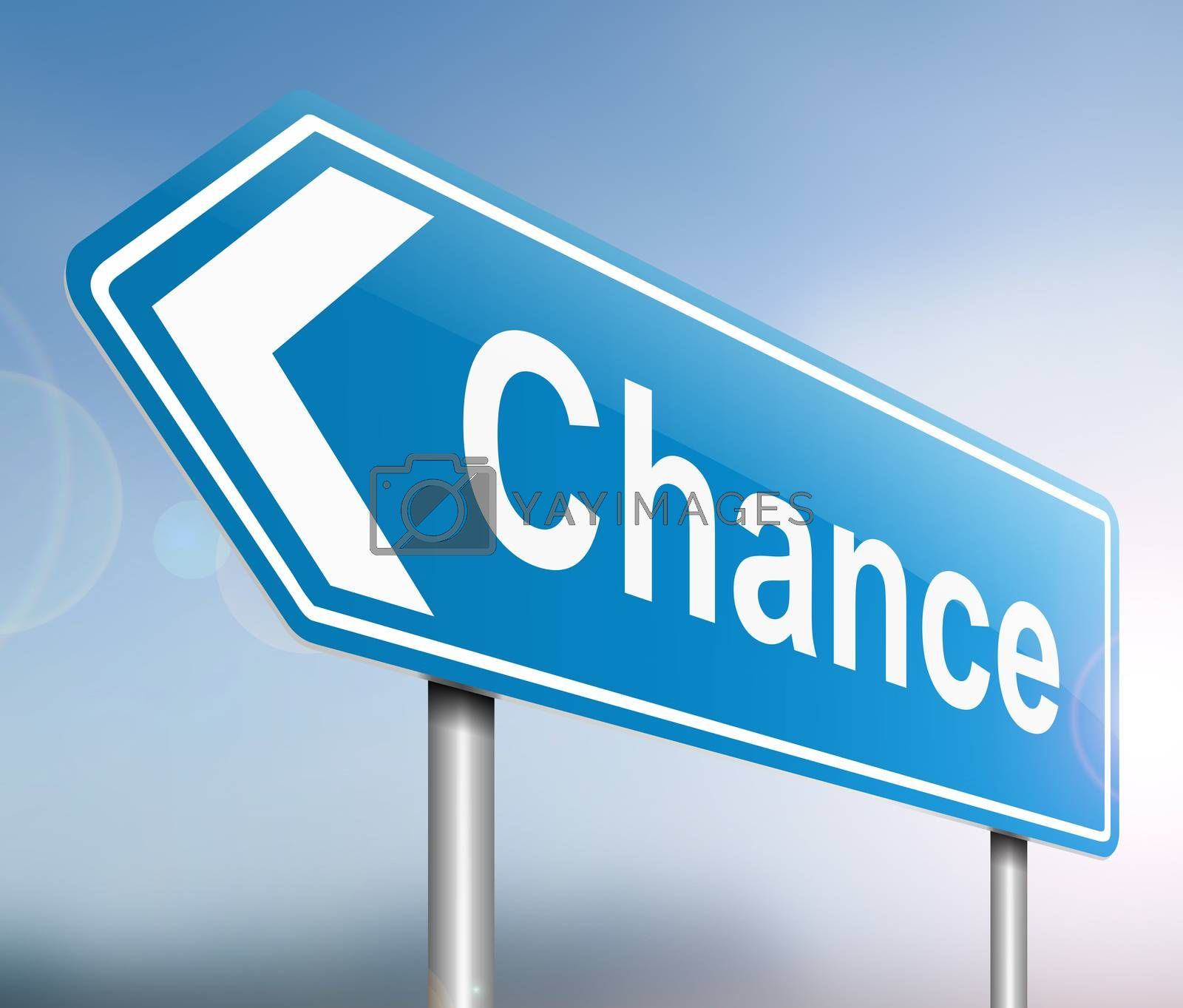 Illustration depicting a sign with a chance concept.