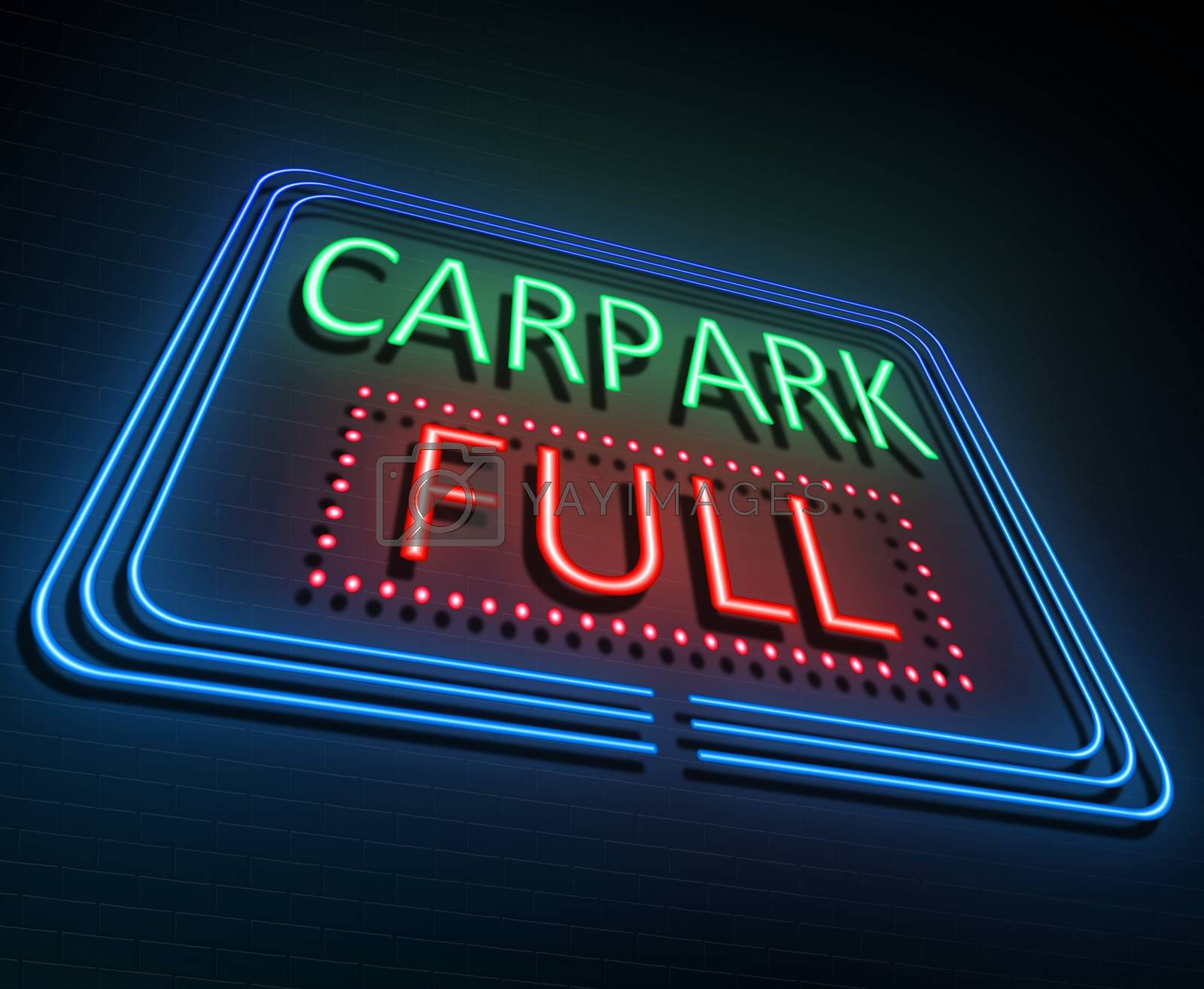Illustration depicting an illuminated neon sign with a parking concept concept.