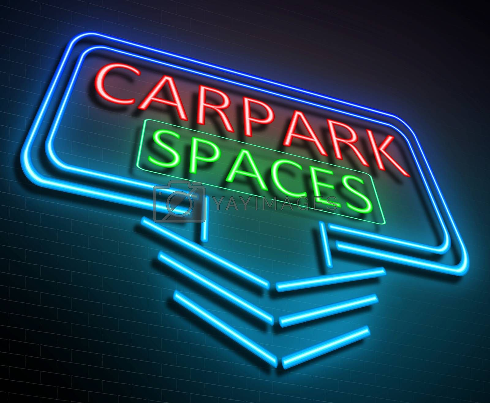 Illustration depicting an illuminated neon sign with a parking concept.