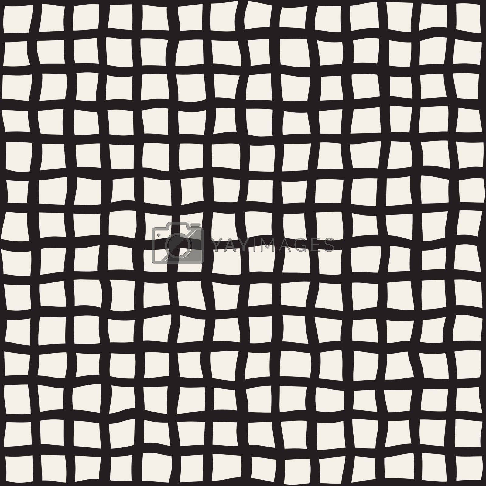 Vector Seamless Hand Drawn Black and White Grid Pattern. Abstract Freehand Background Design