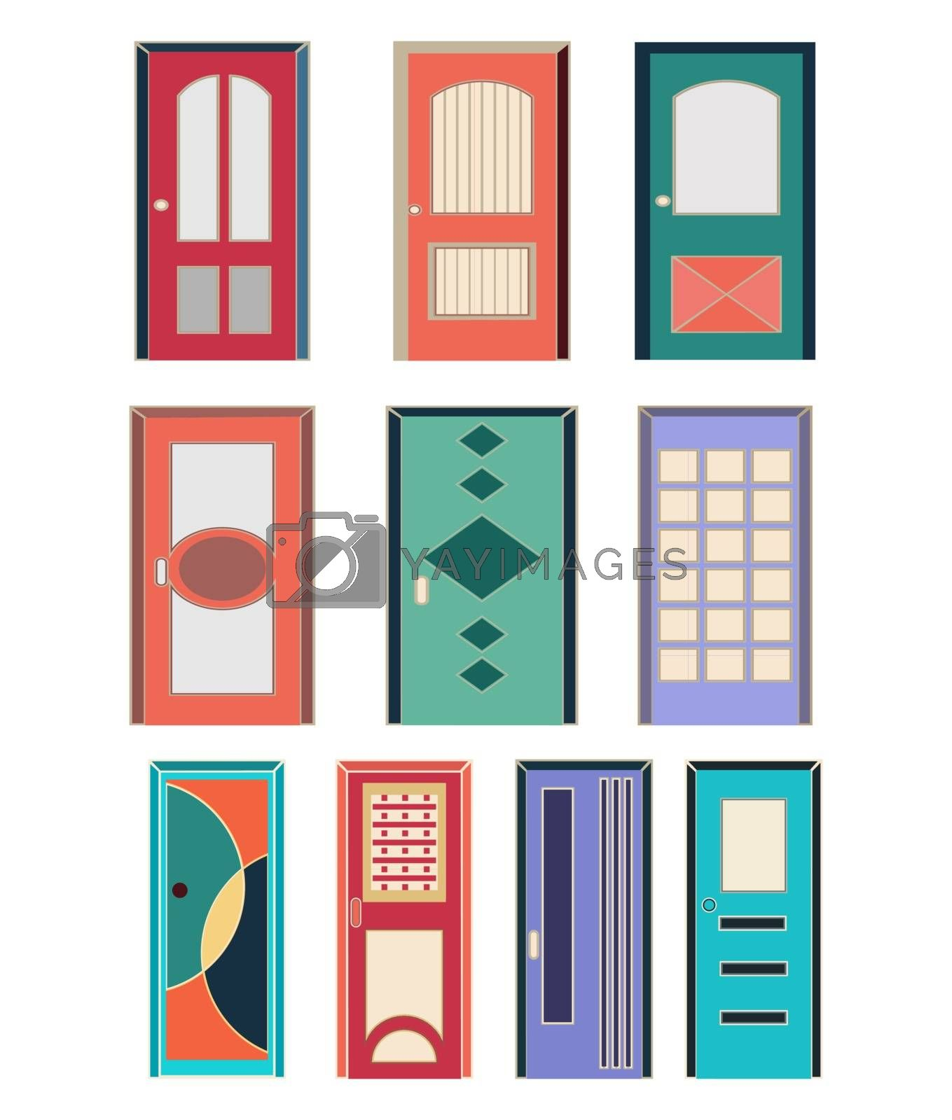 Vector collection of colorful front doors to houses and buildings in flat style.