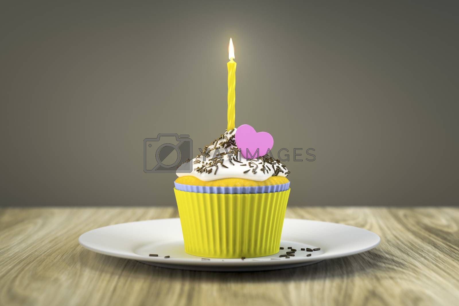 delicious cupcake with a burning candle by magann