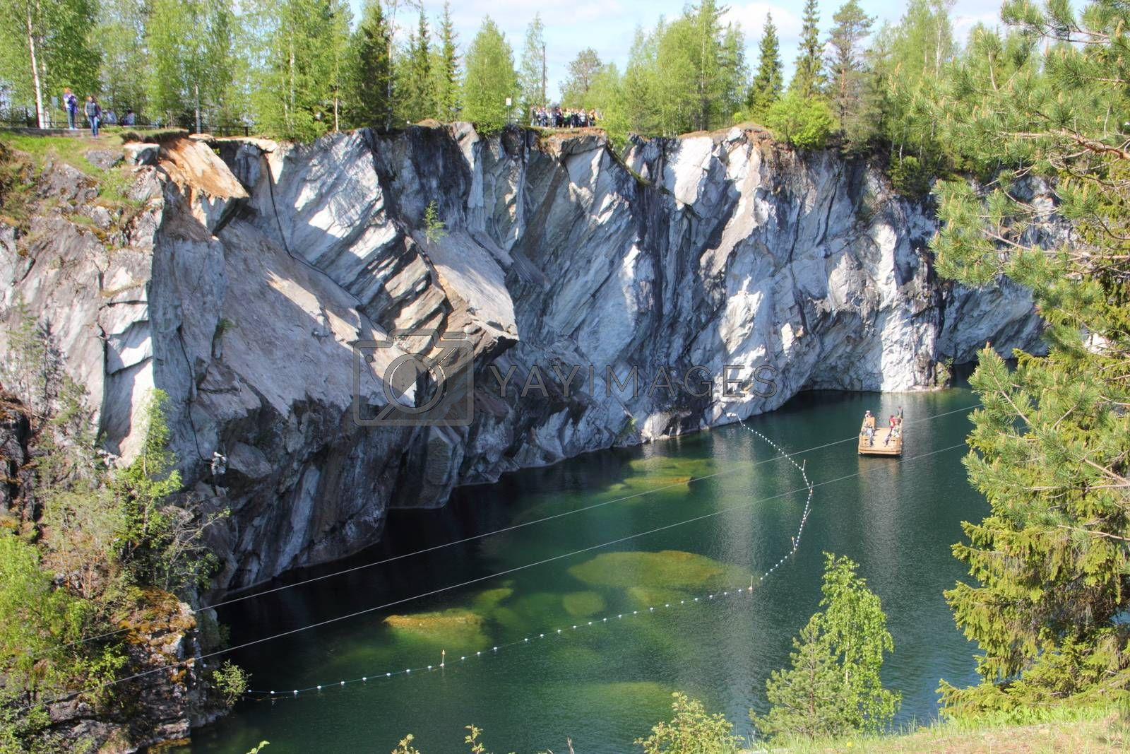 Marble quarry in Ruskeala, Republic of Karelia, Russia. View from above