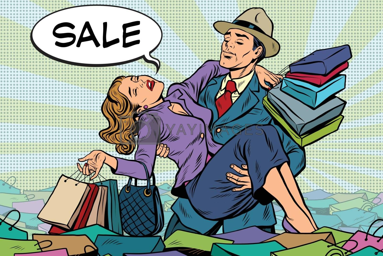 Retro man rescues a woman from sales and purchases, pop art vector. Holiday sales and Black Friday