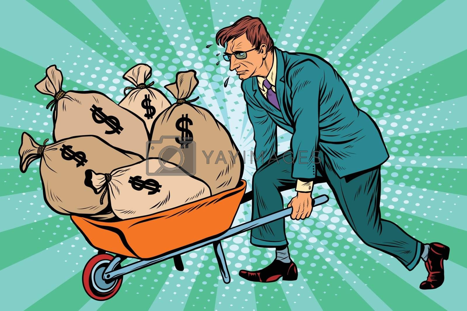 Businessman wheel heavy garden cart with money, pop art retro vector. Business and Finance