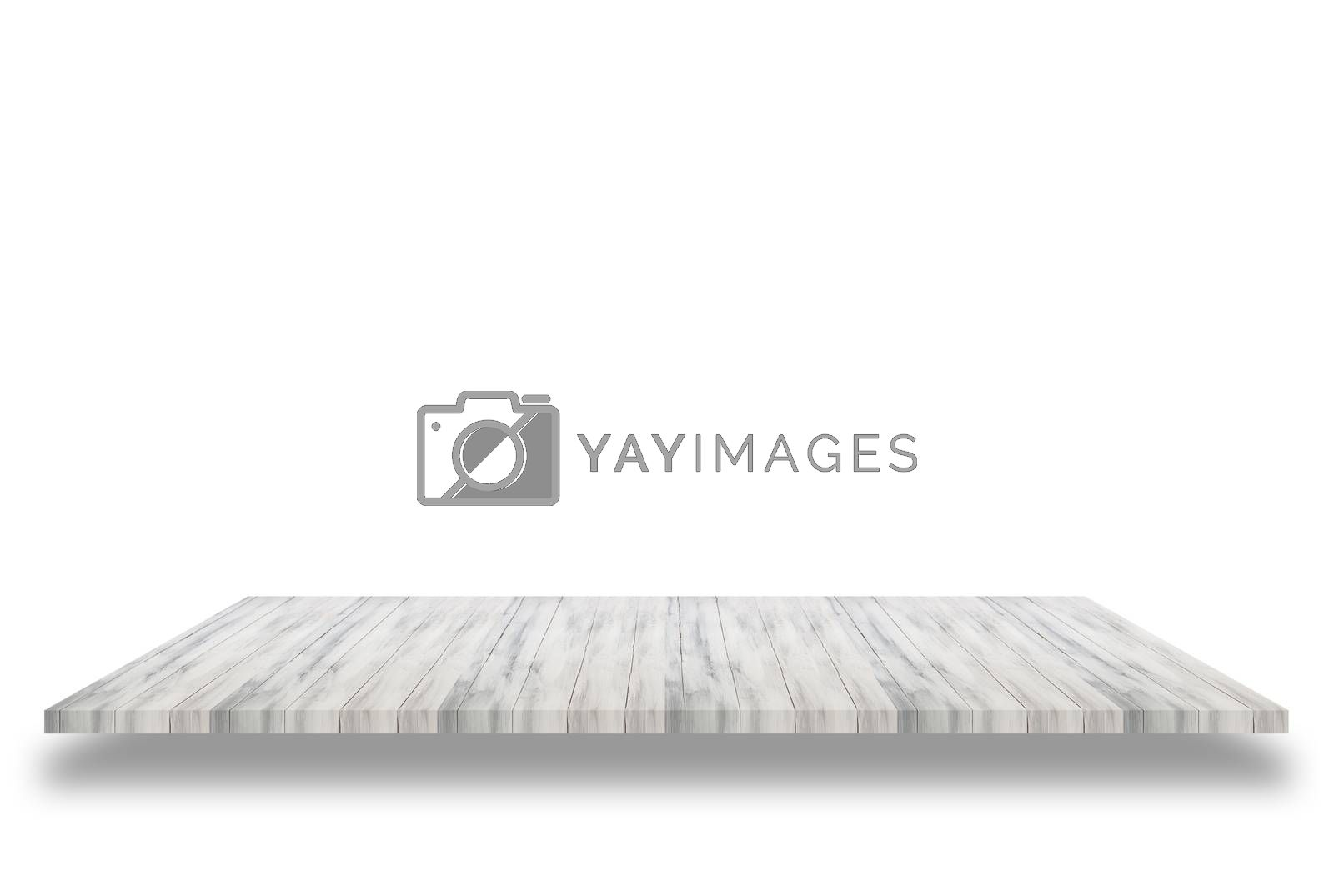 Top of white wooden shelf isolated on white background. For product display