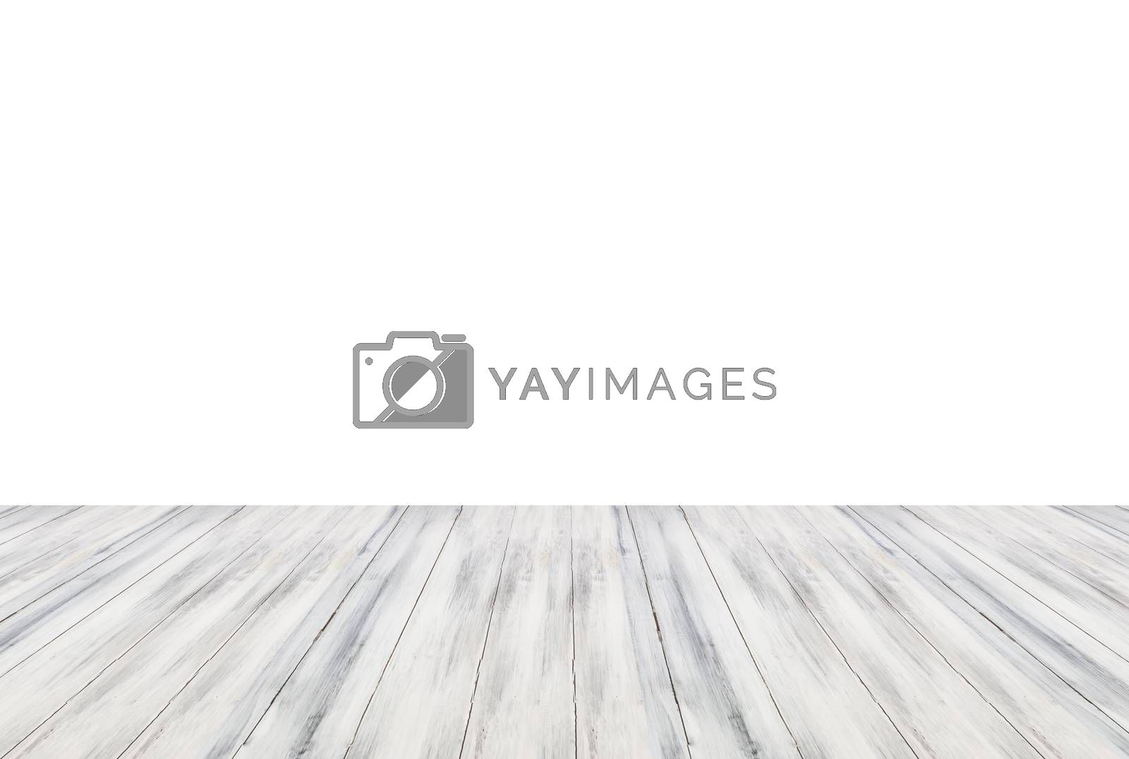 Top of wooden table or counter isolated on white background. For product display