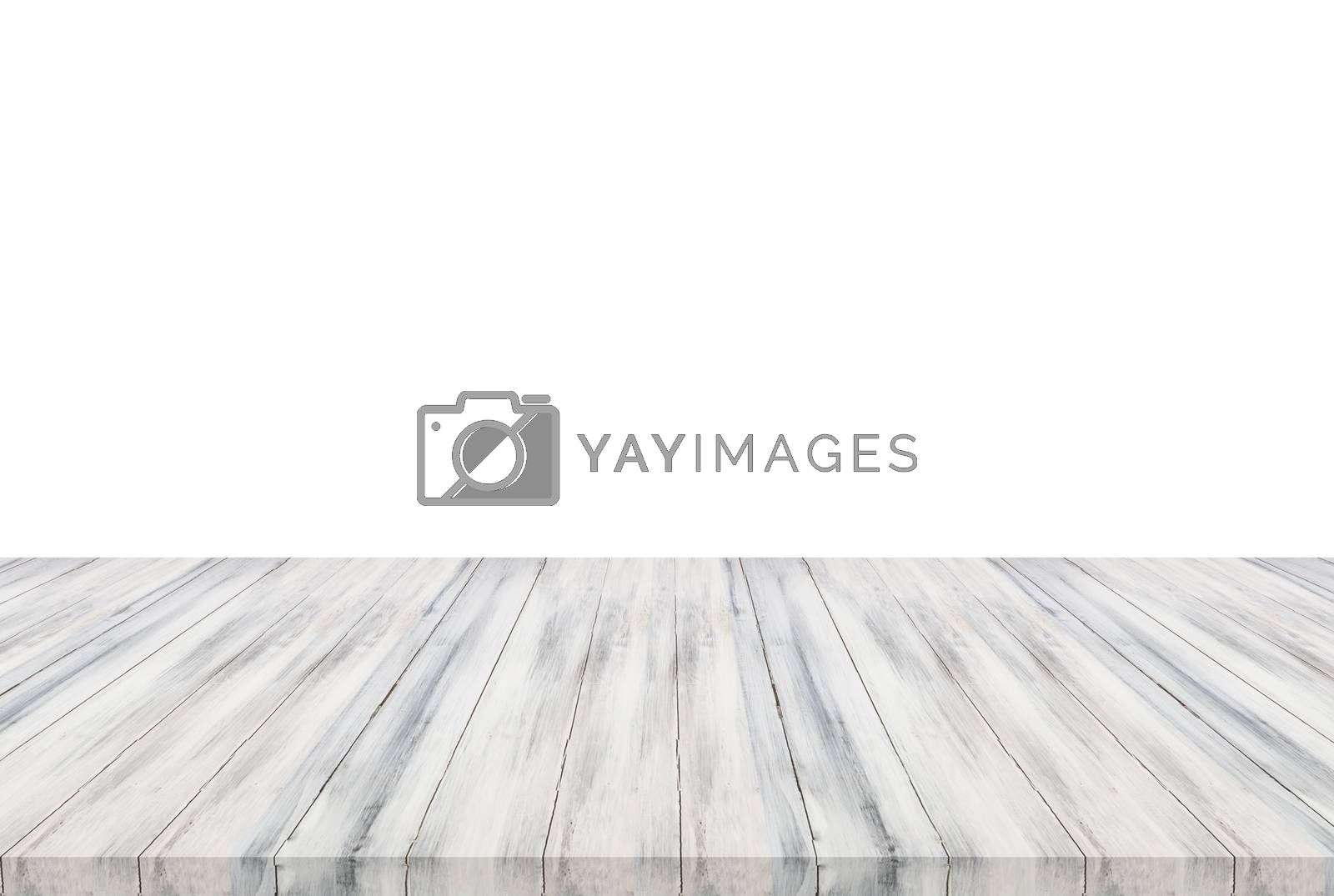 White wooden table top isolated on white background. For product display