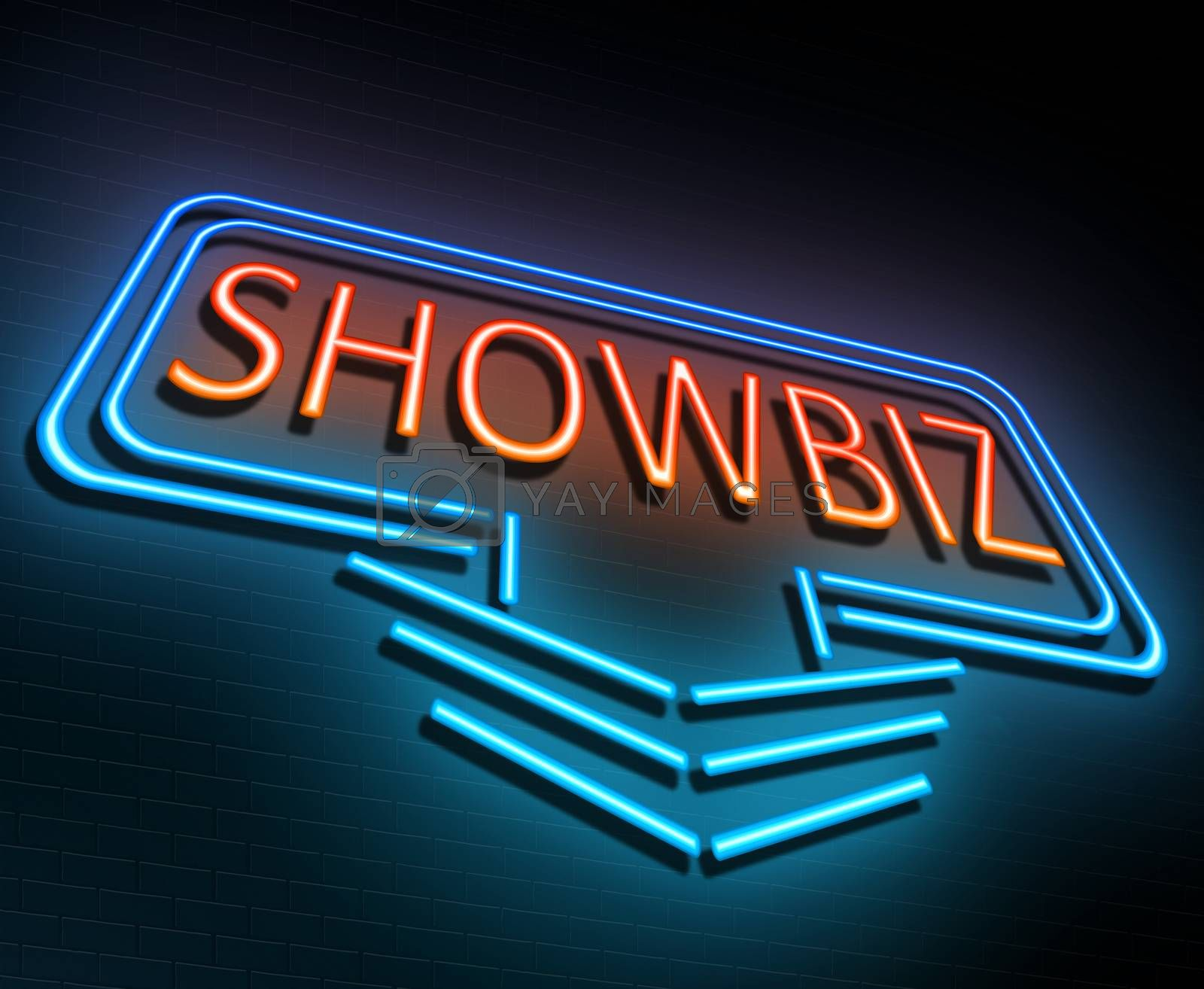 Illustration depicting an illuminated neon sign with a showbiz concept.