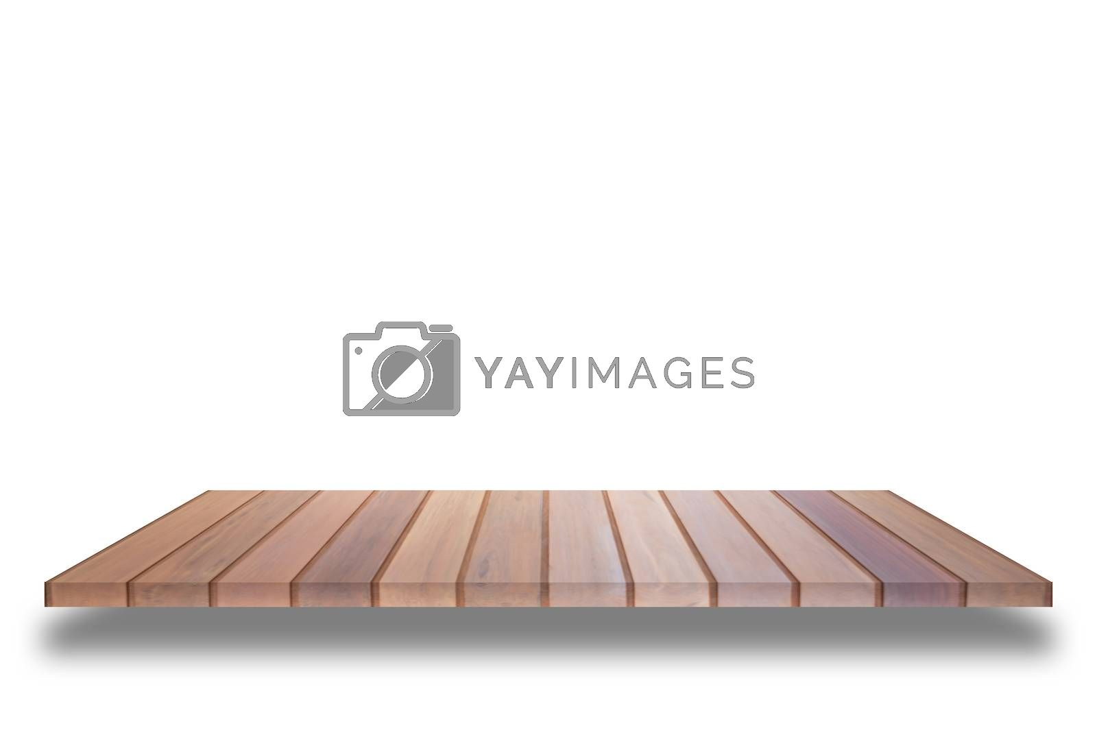 Brown wooden shelf isolated on white background. For product display