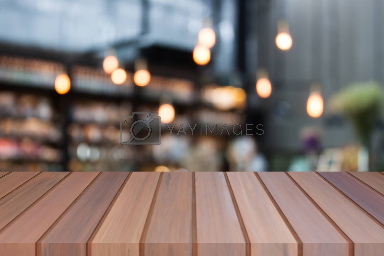 Perspective luxury top wooden with blurred cafe background. product display template