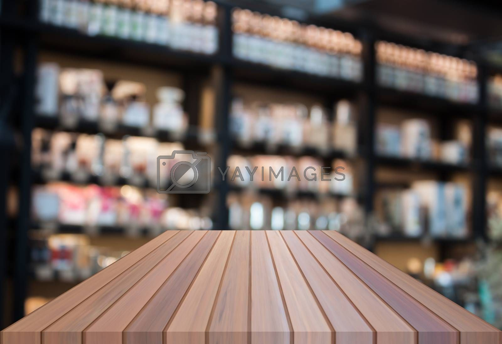 Perspective luxury top wooden with blurred coffee shop background. product display template