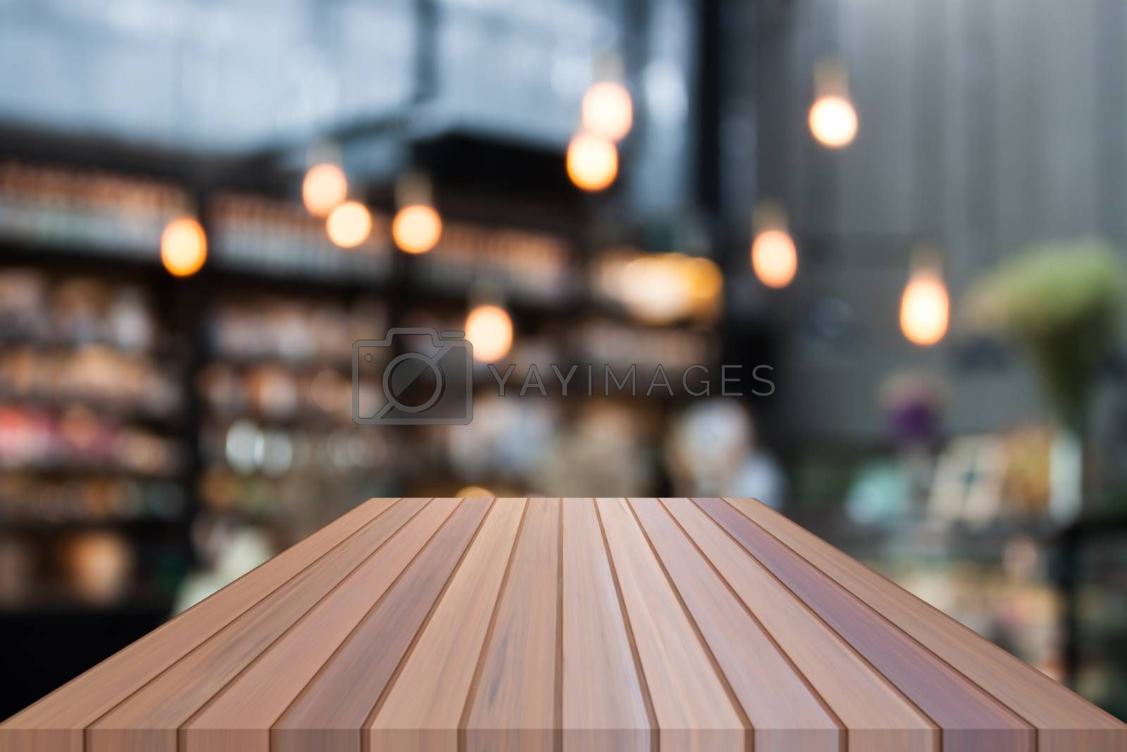 Perspective luxury wooden with blurred cafe background. product display template