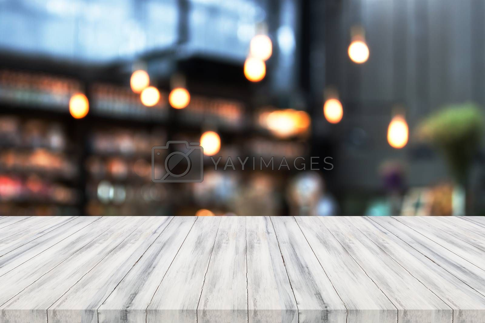 Perspective white luxury wooden with blurred background. product display template