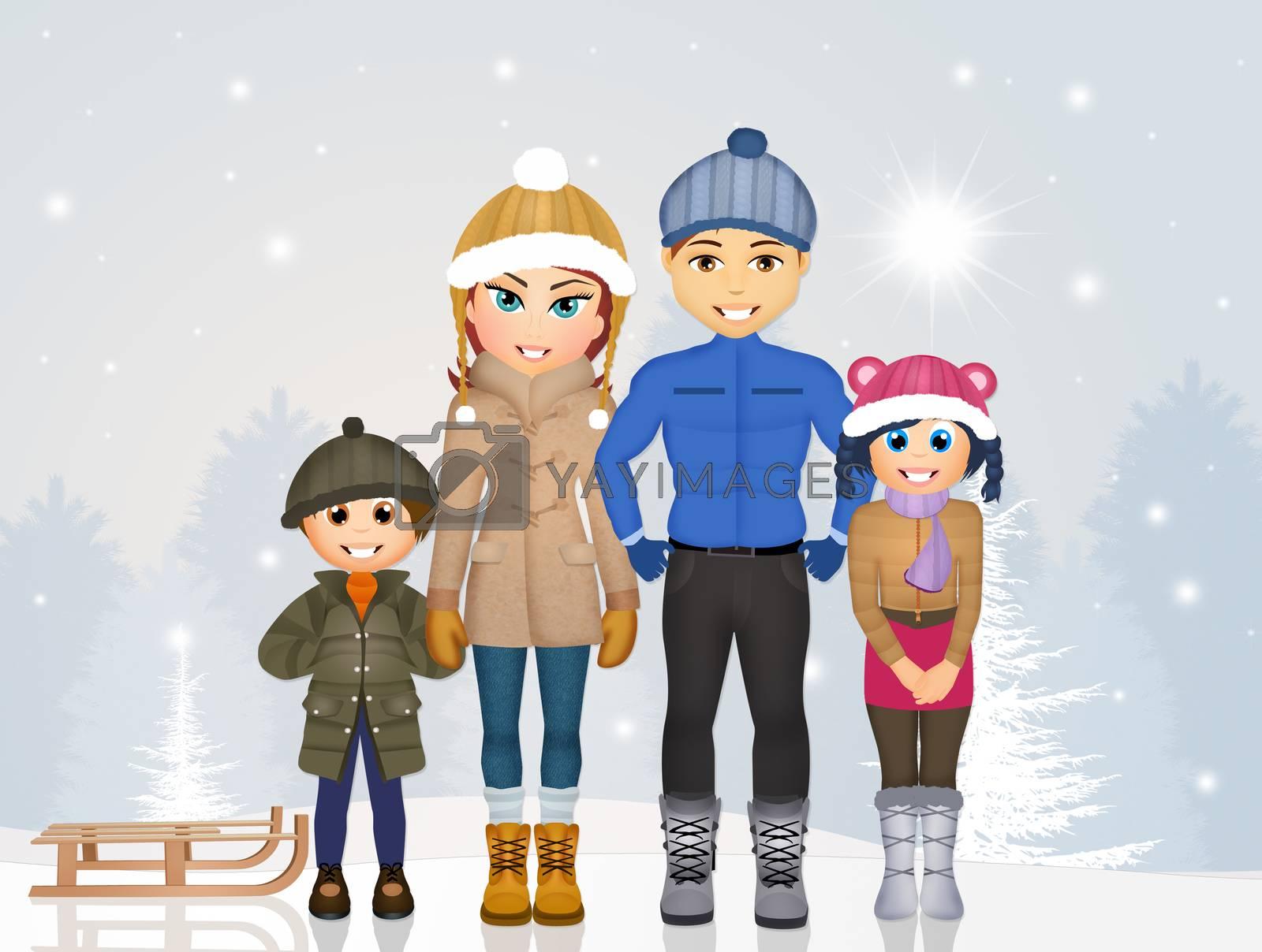 illustration of joyful family in winter