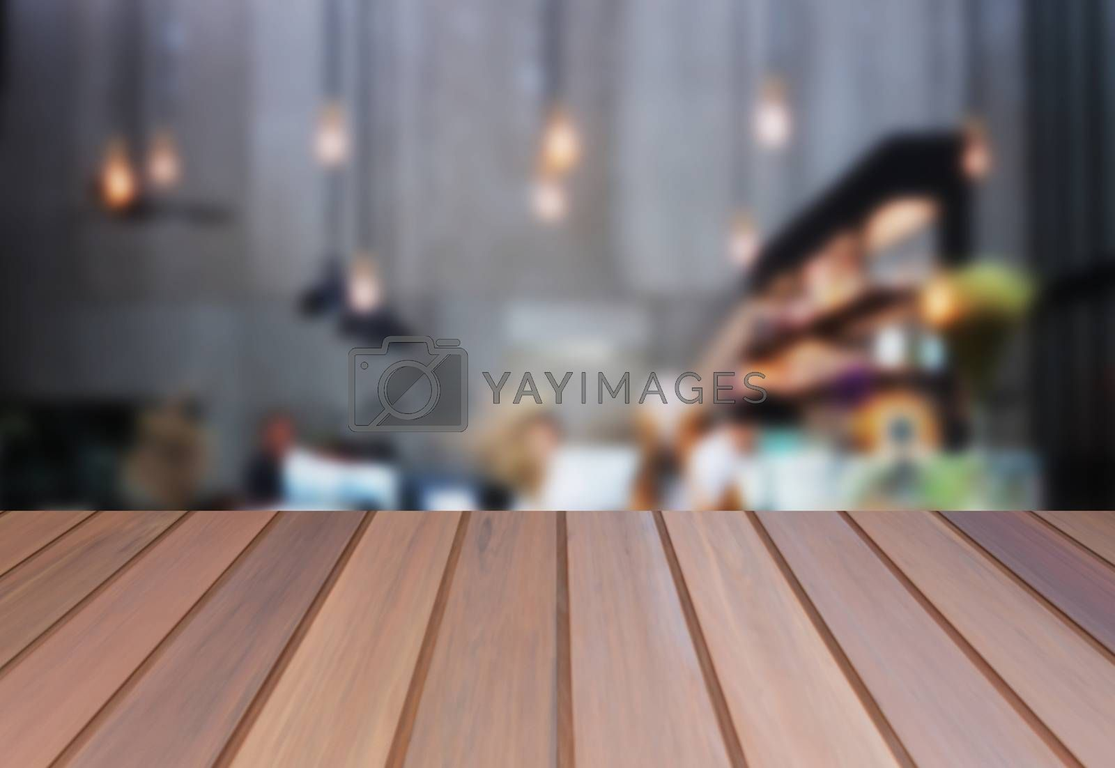 Brown table top wooden with blurred background. product display template