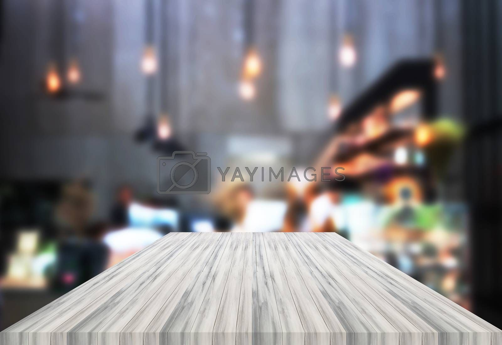 Luxury white table top wooden with blurred background. product display template