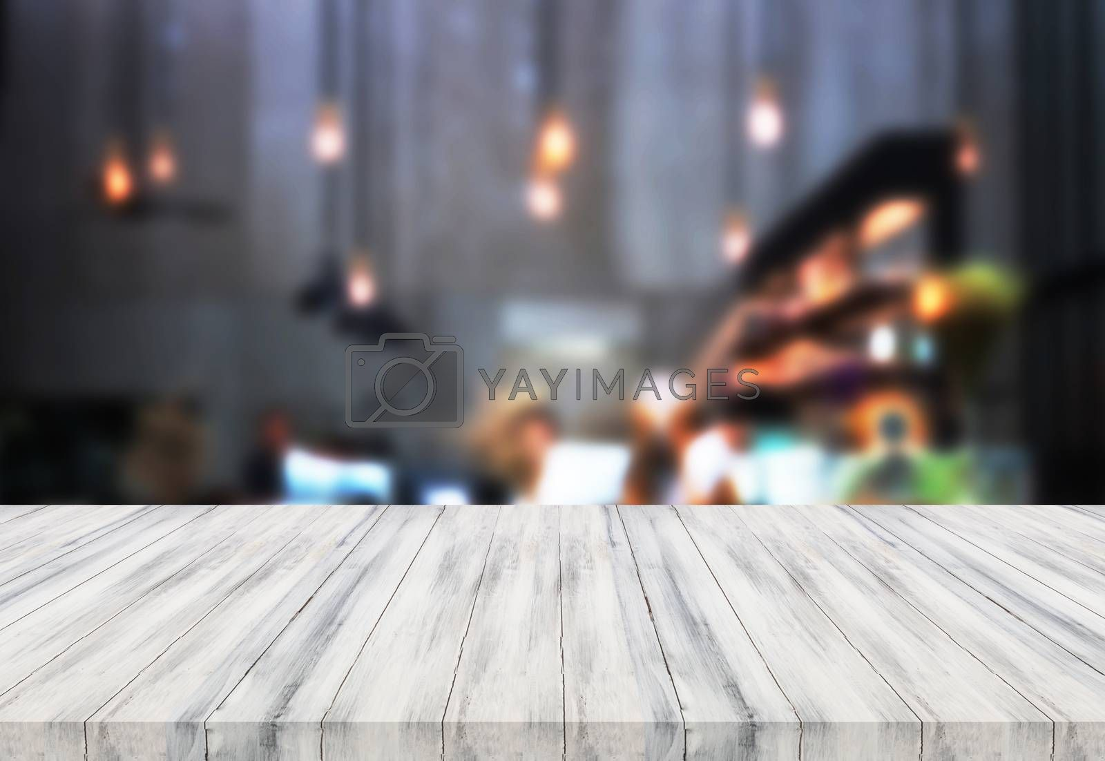 Luxury white top wooden with blurred background. product display template