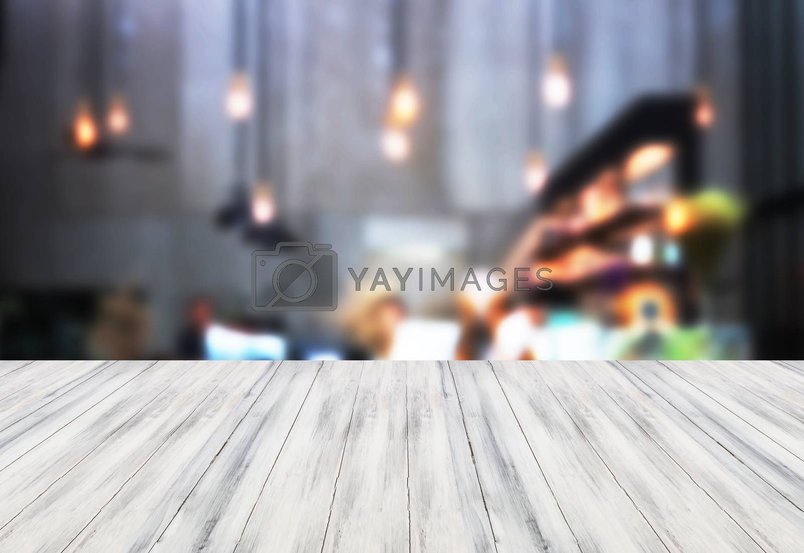 White table top wooden with blurred background. product display template