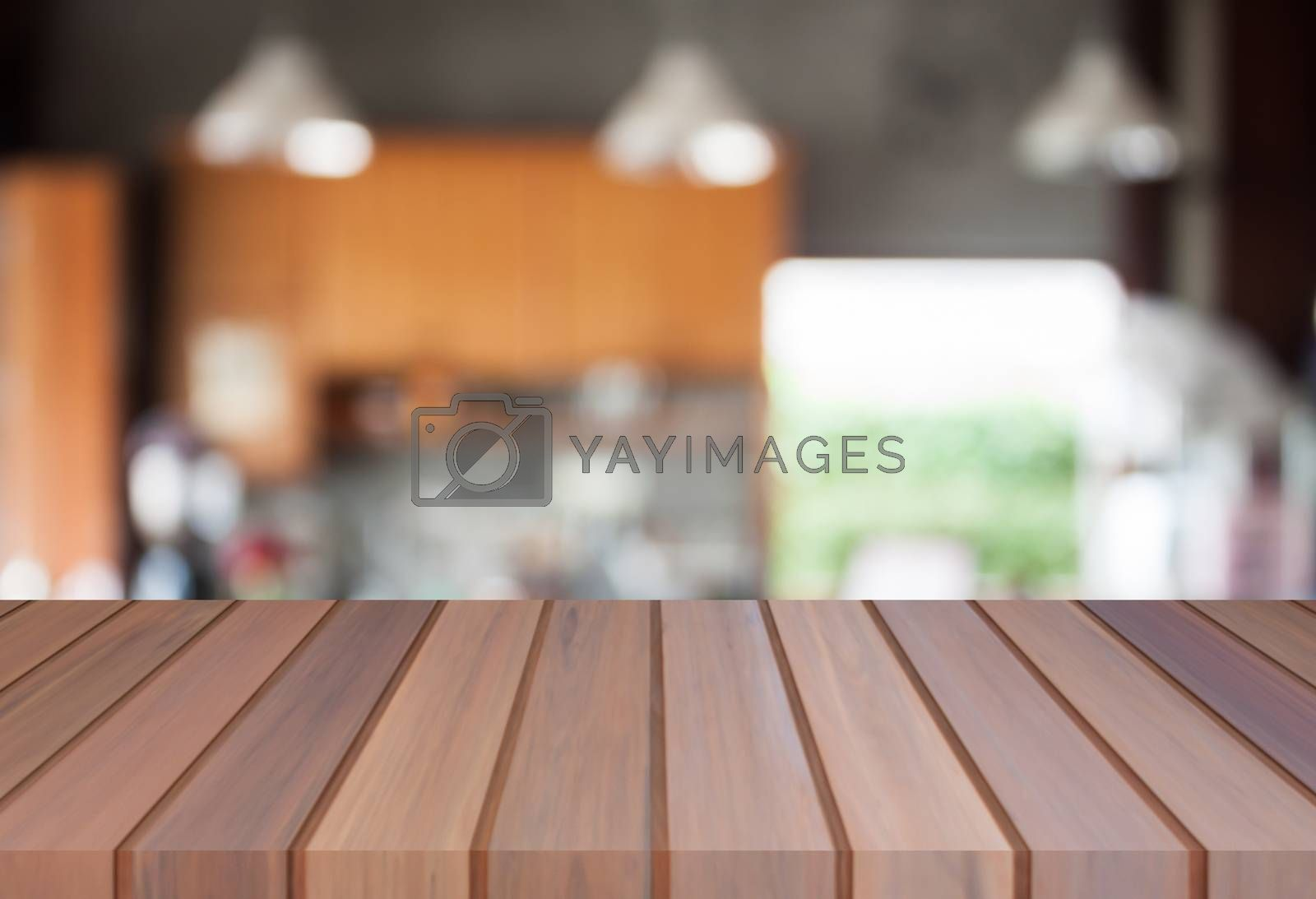 Abstract blur coffee shop with empty table top. For product display