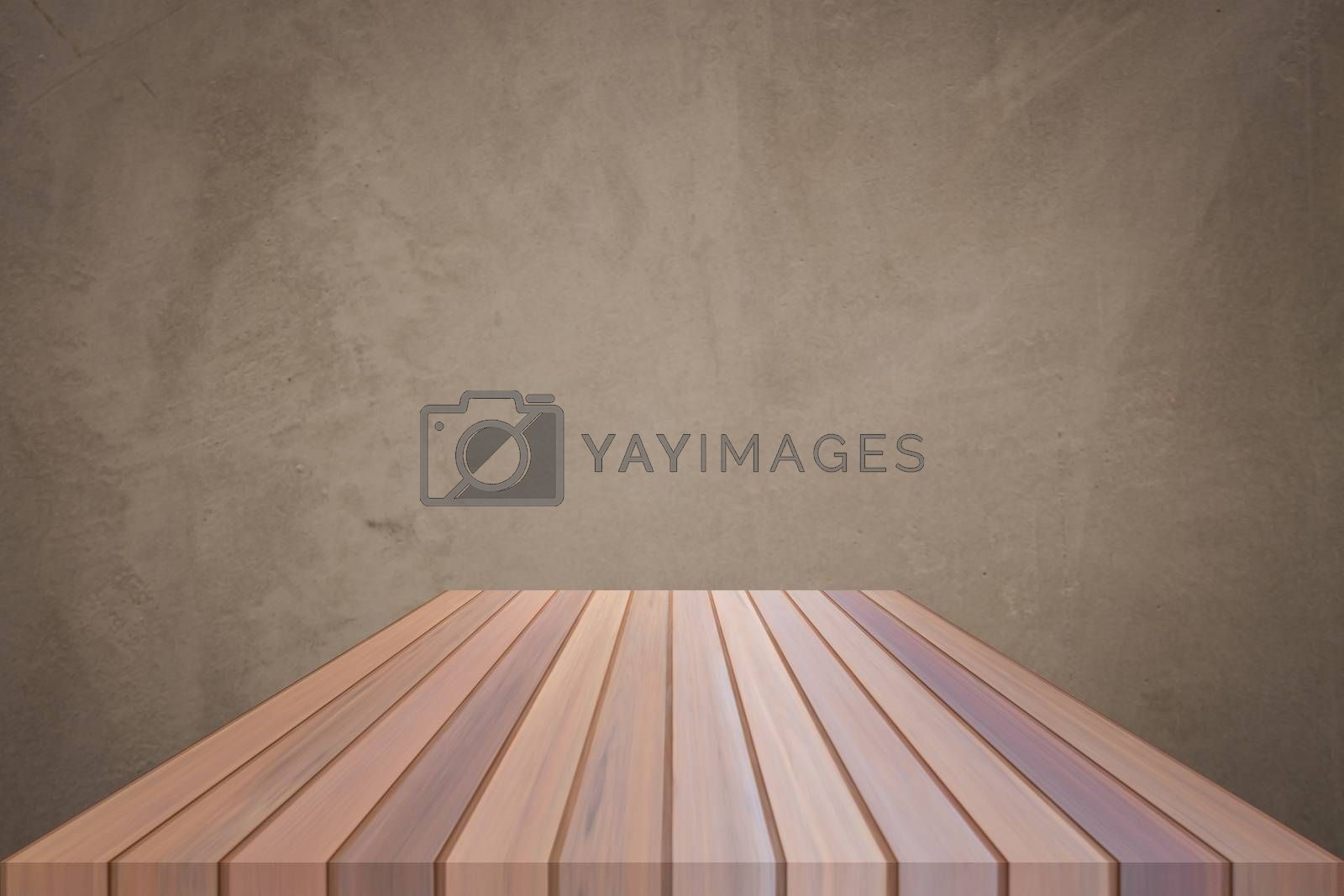 Empty brown top wooden table with concrete wall background. For product display