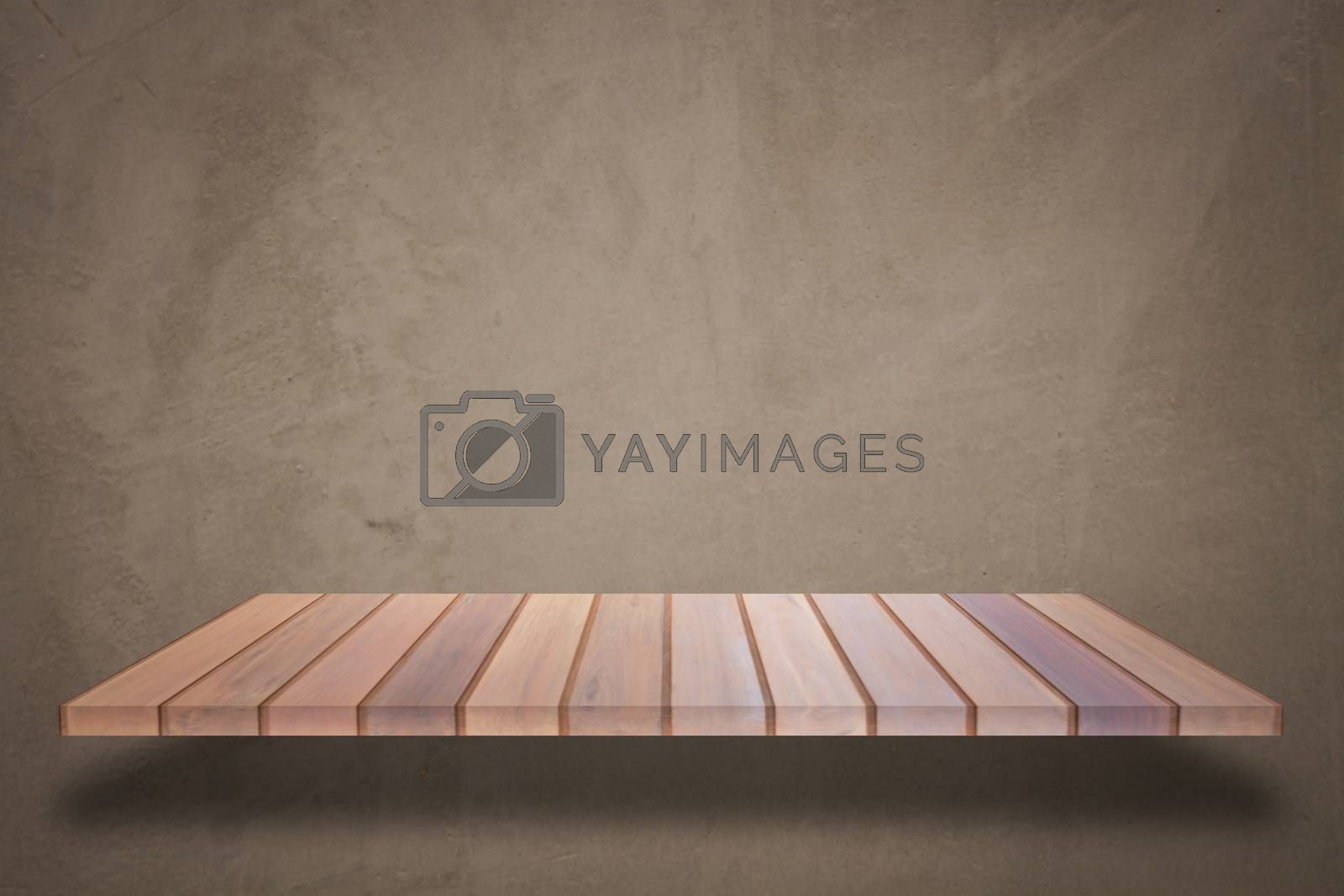 Empty top wooden shelf with concrete wall background. For product display