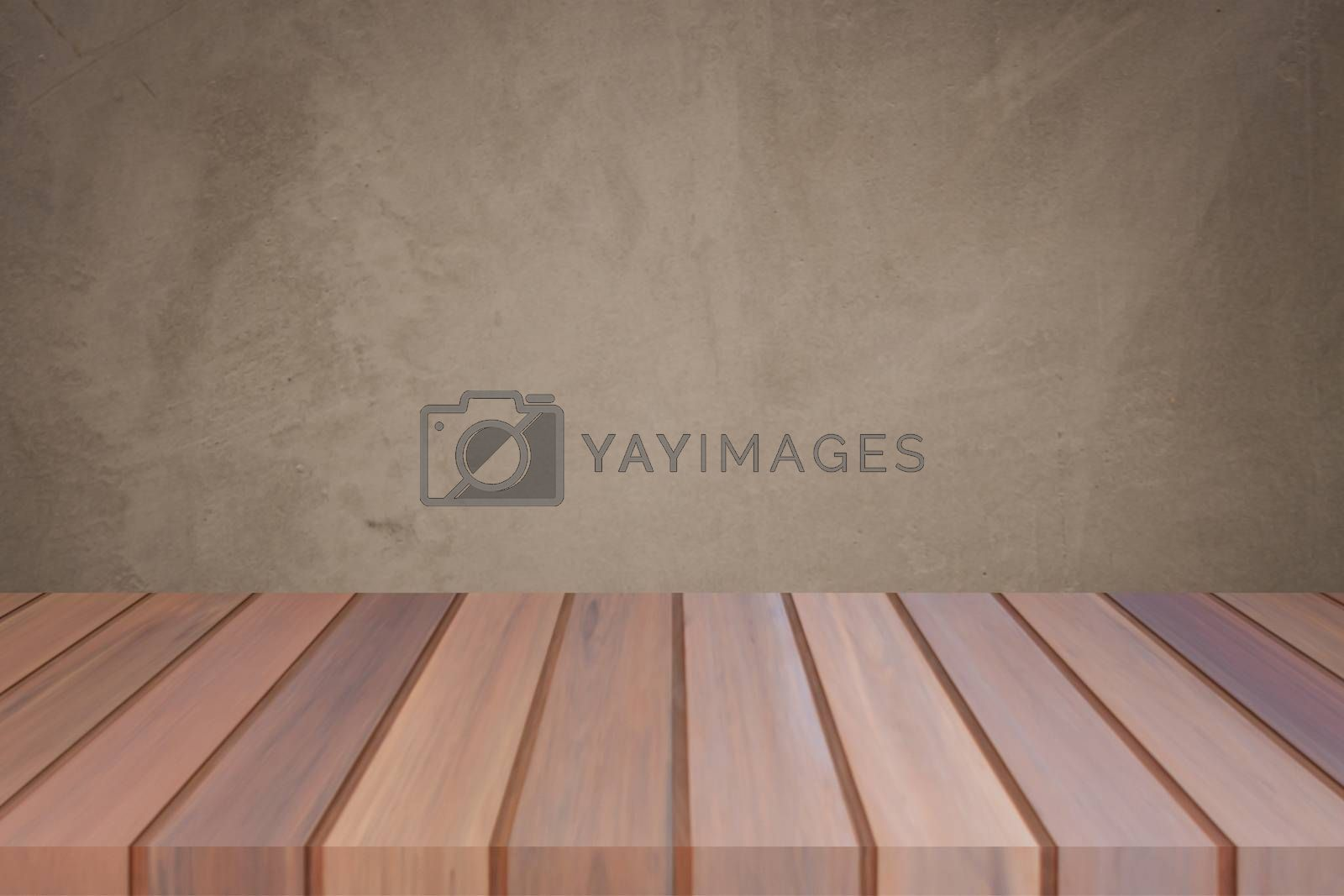 Empty top wooden table with concrete wall background. For product display