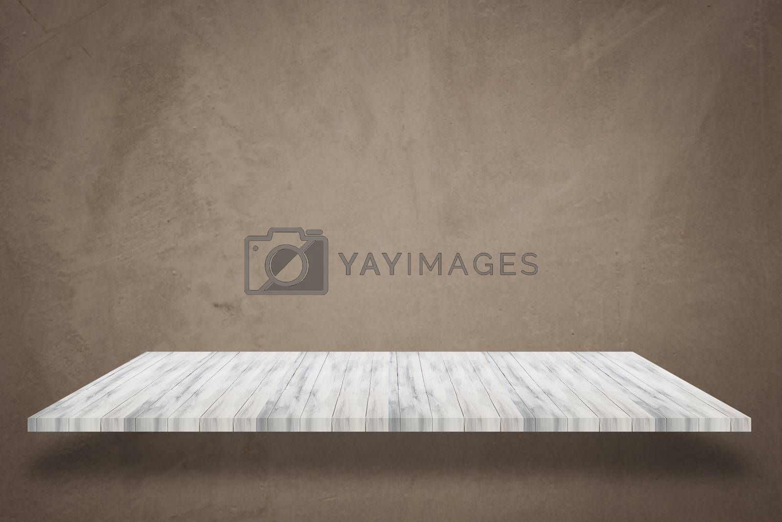 Empty white top wooden shelf with concrete wall background. For product display