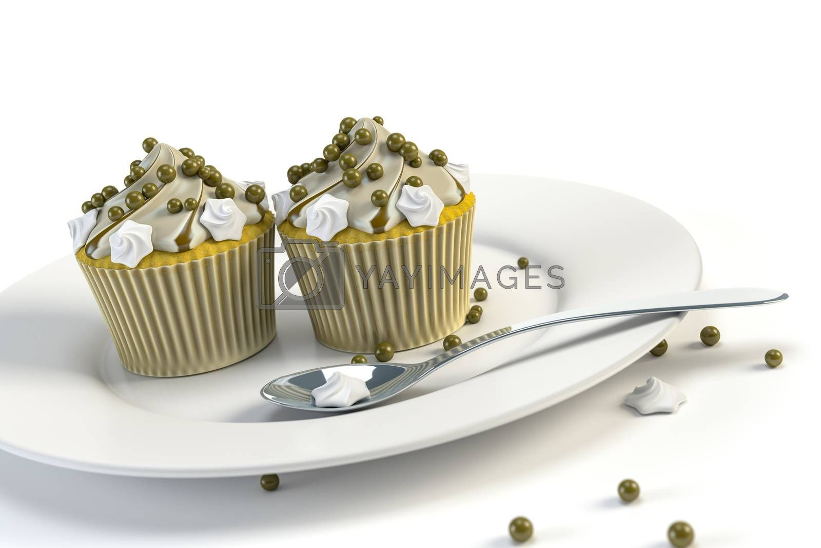two delicious cupcakes on a plate by magann