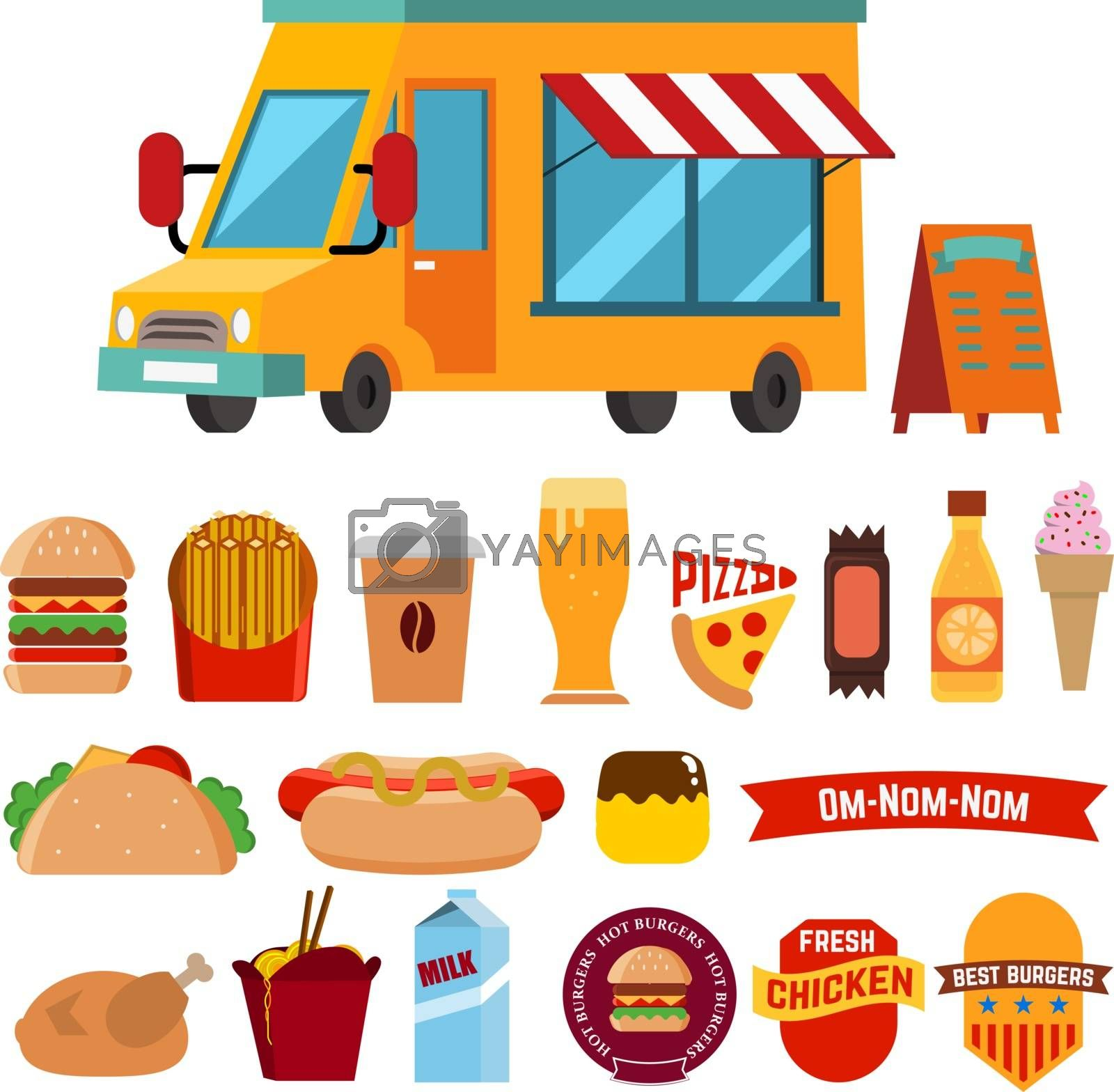 Flat design style modern vector illustration icons set of wagon full of tasty summer food, meals, drinks and fruits. Isolated on white background