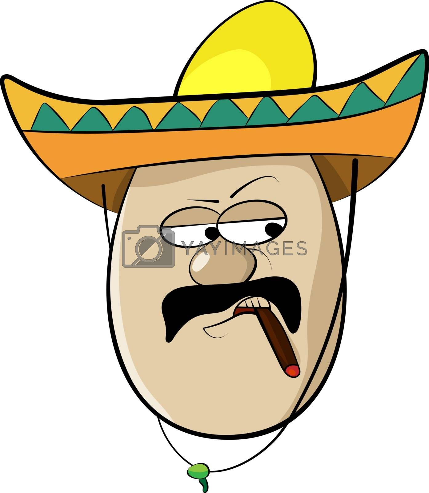 Mexican Funny Cartoon Egg Face Character Vector Illustration
