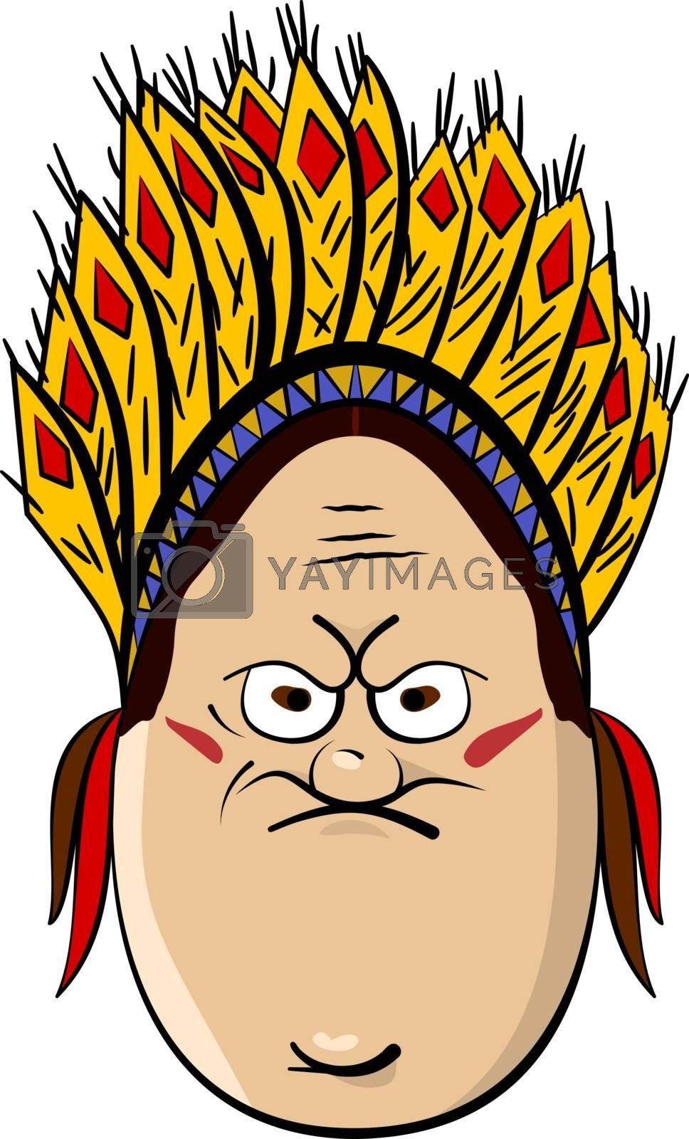 Red Indian Funny Cartoon Egg Face Character Vector Illustration