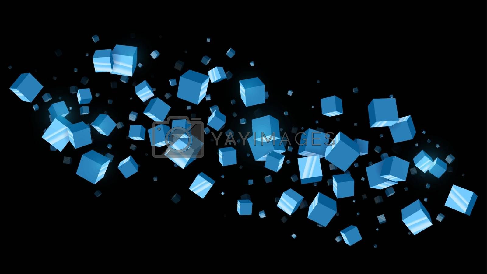 3d abstract futuristic black background with blue reflective cubes flying in space