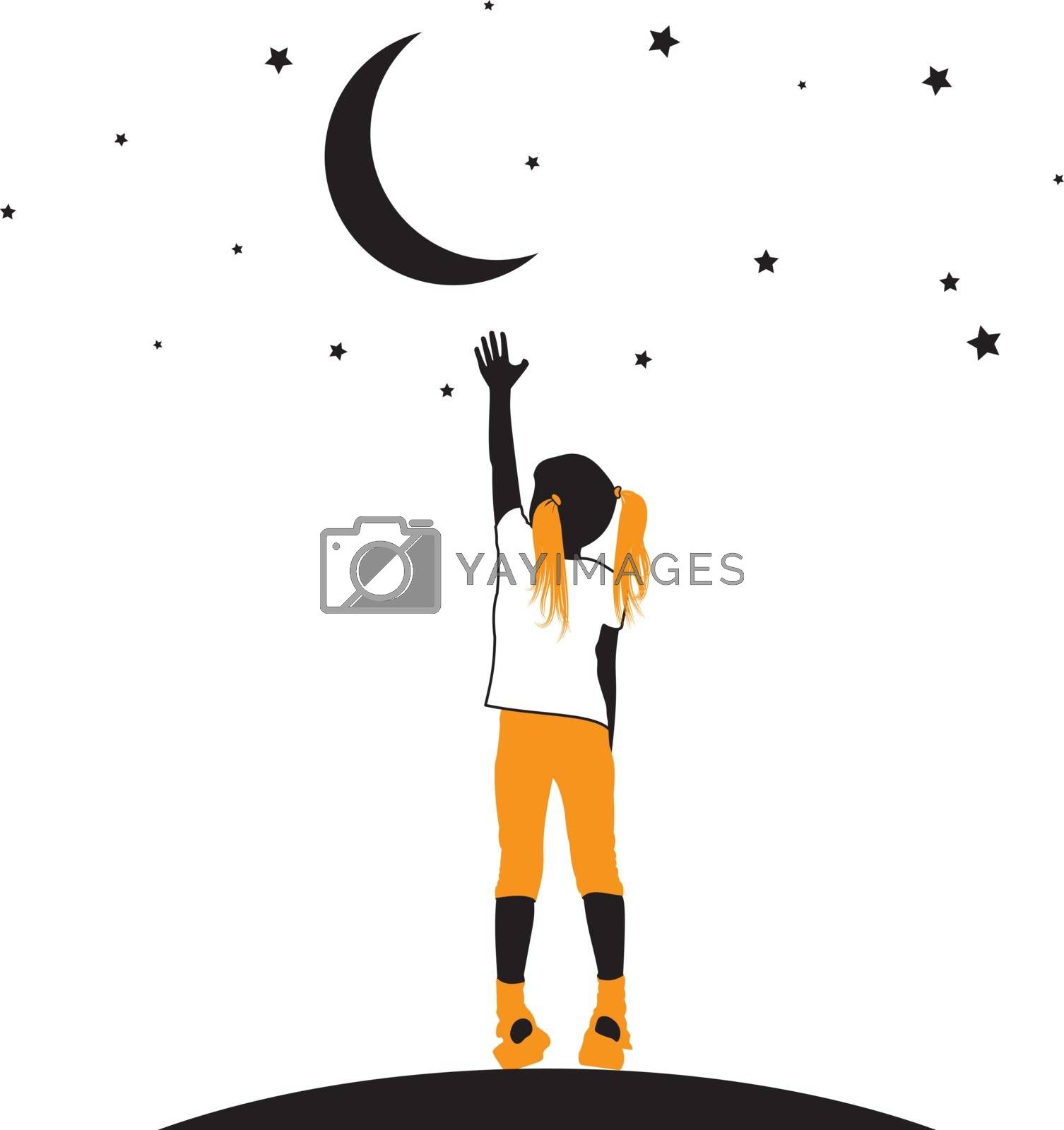 Vector silhouette of a little girl reaching moon and stars on a white background