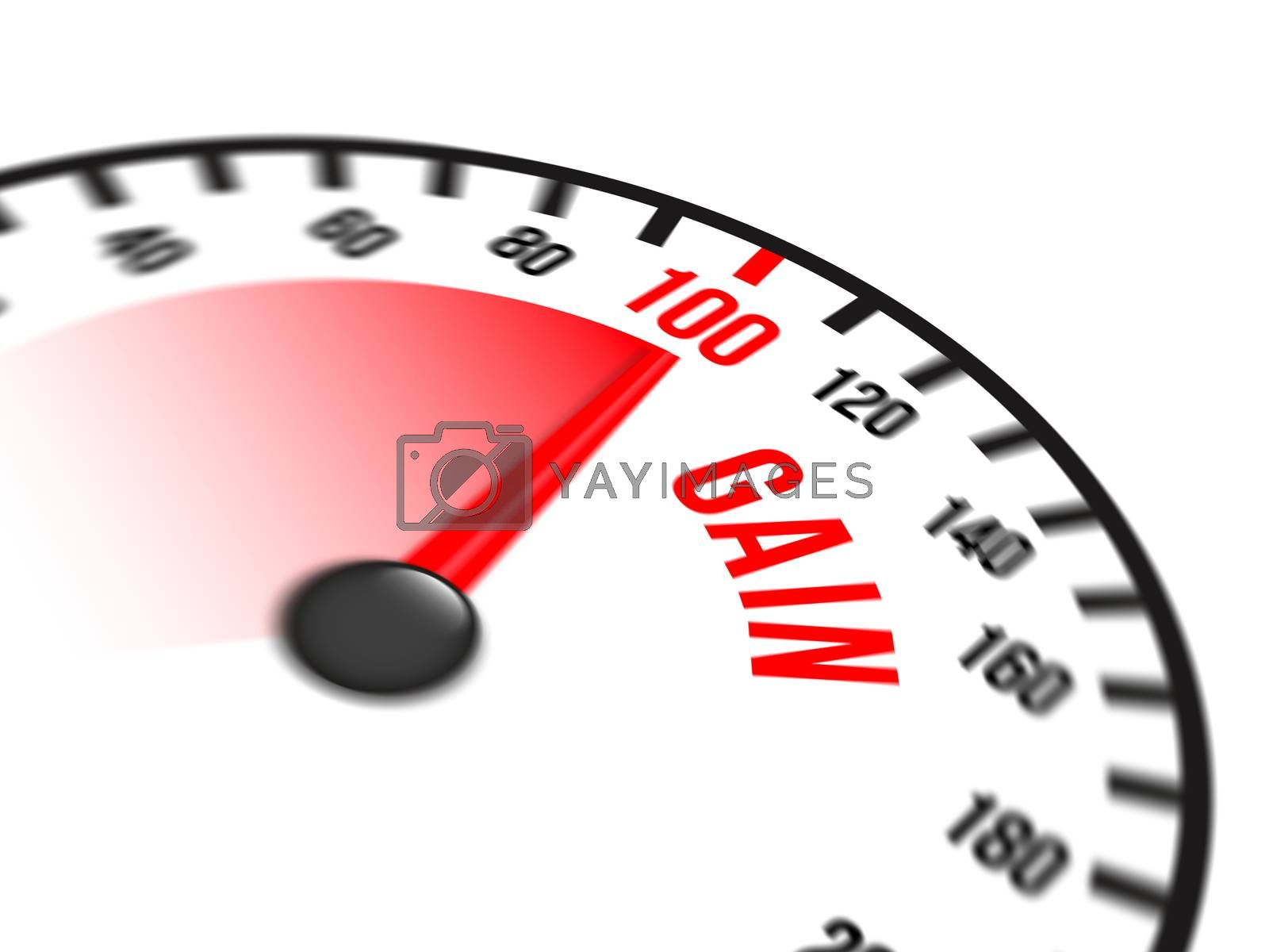 Illustration of speedometer with red arrow pointing to a hundred percent gain on white background