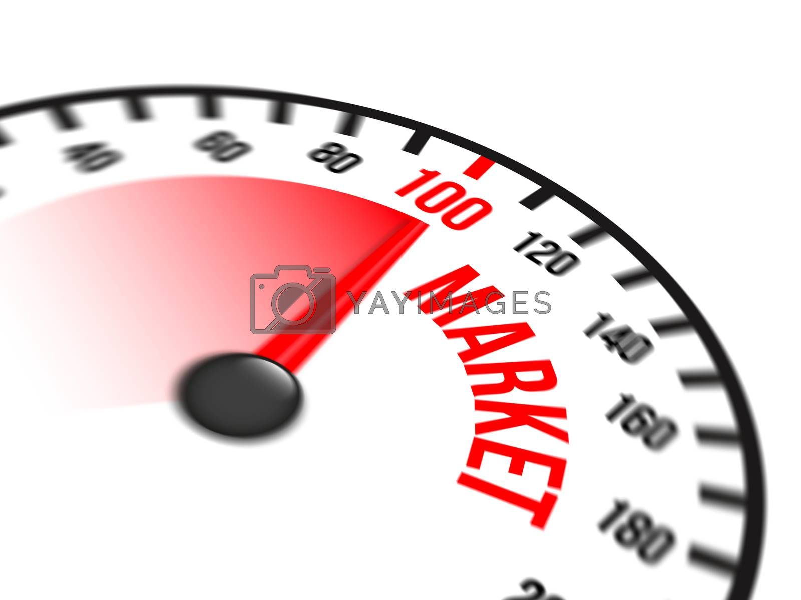 Illustration of speedometer with red arrow pointing to a hundred percent market on white background
