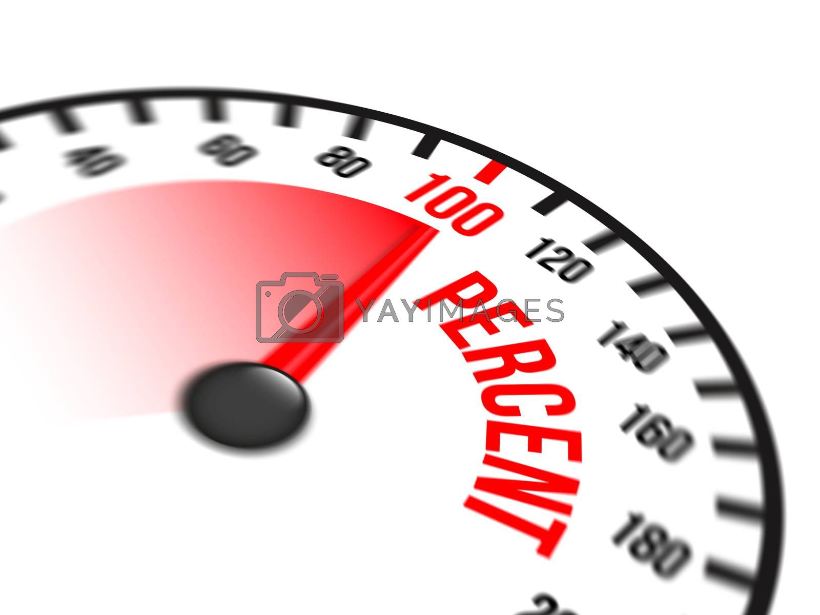 Illustration of speedometer with red arrow pointing to a hundred percent on white background