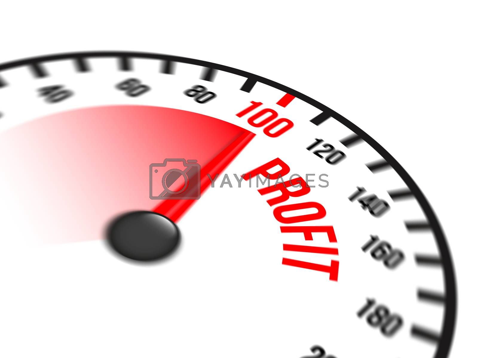 Illustration of speedometer with red arrow pointing to a hundred percent profit on white background