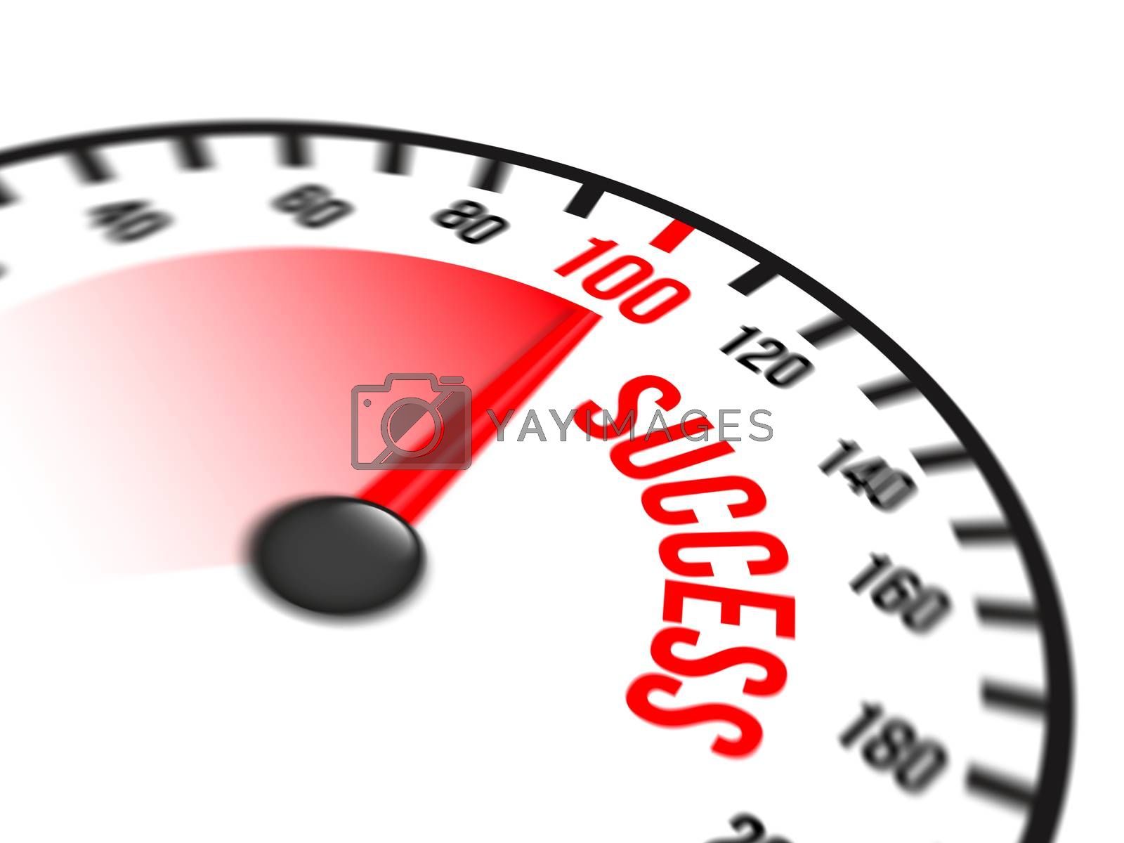 Illustration of speedometer with red arrow pointing to a hundred percent success on white background