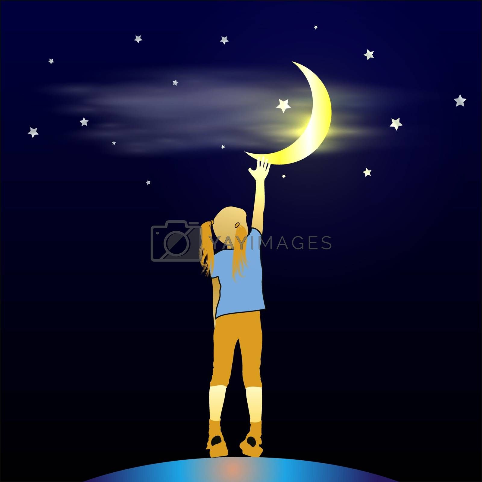 Small baby reaches with her hand for the moon and stars in the night deep blue sky. Thirst for knowledge concept. Vector silhouette illustration