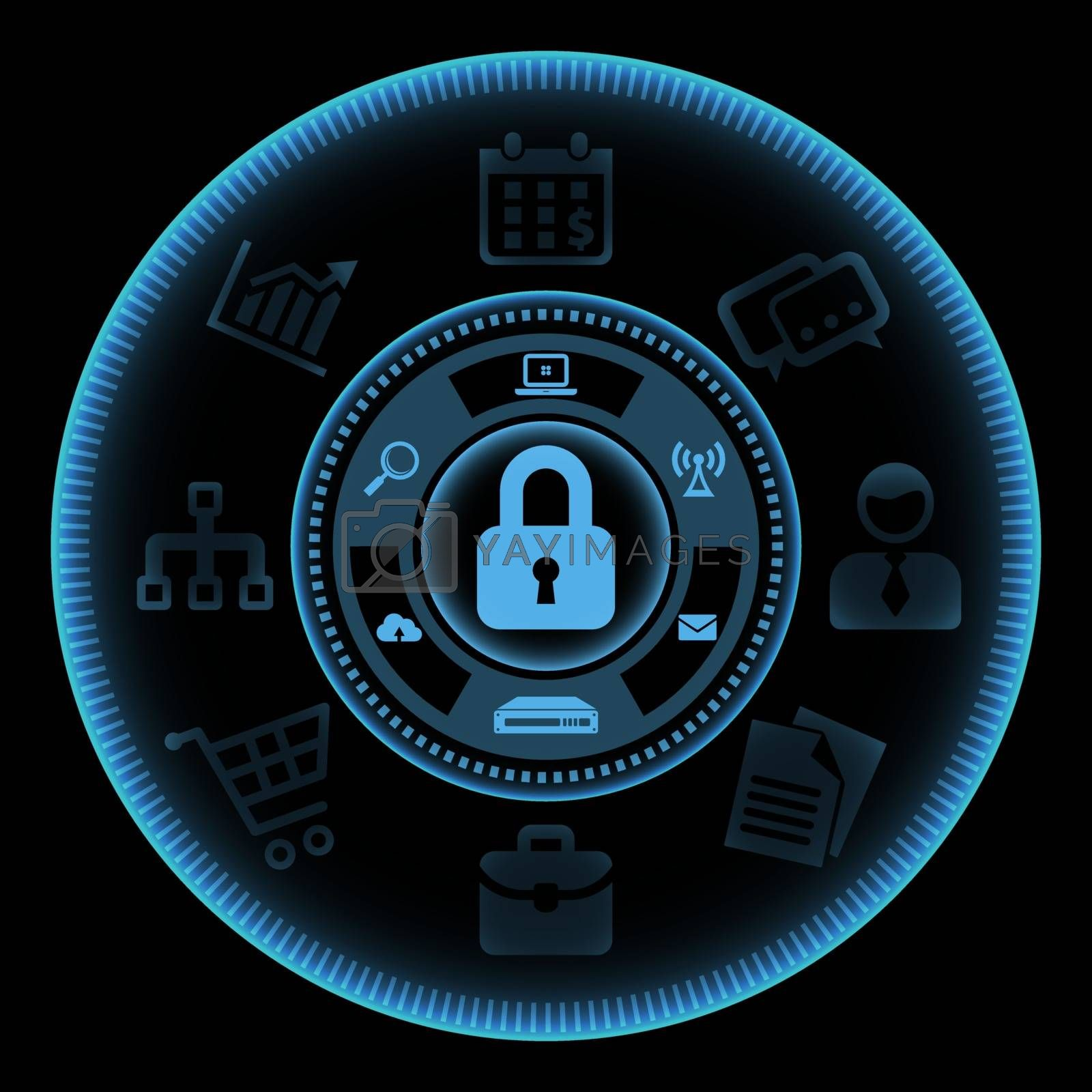 Blue touch screen interface with icons related to the information technology protection and safety on black background. Vector illustration