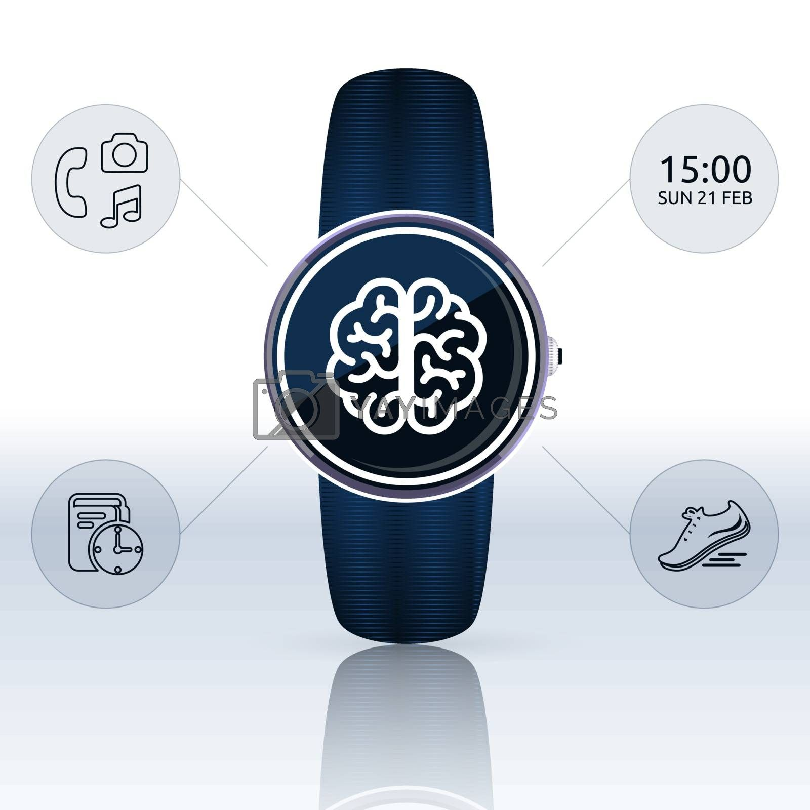 Blue round smart watch with the brain icon on the screen and icons of functions, time, jogging, planning, phone, music and photo