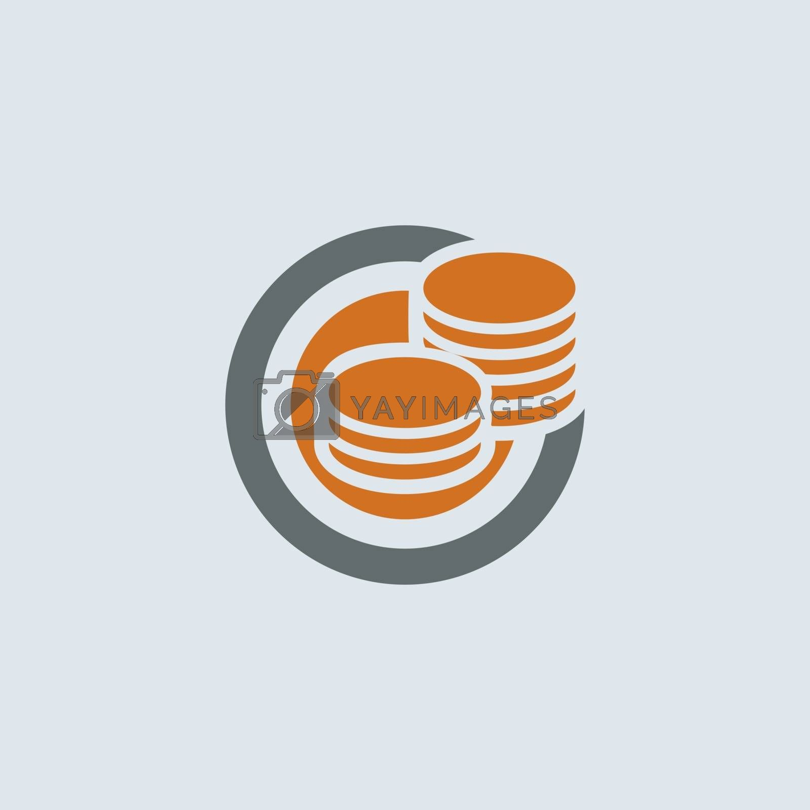 Gray-orange saving symbol of two stacks of coins round web icon